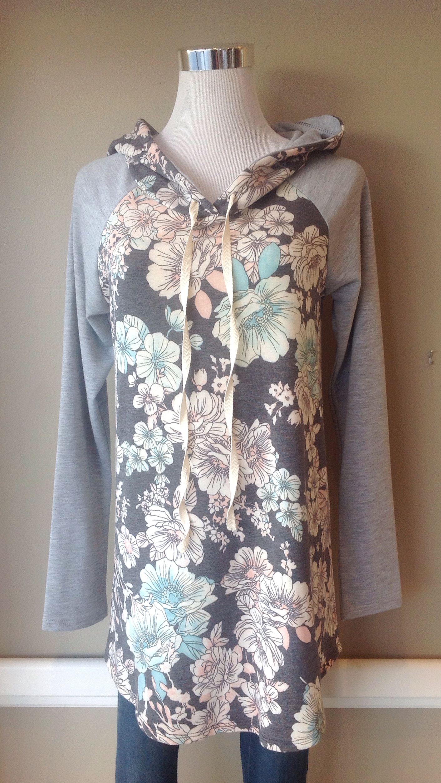 Floral print pullover hoodie in multi/heather grey, $38