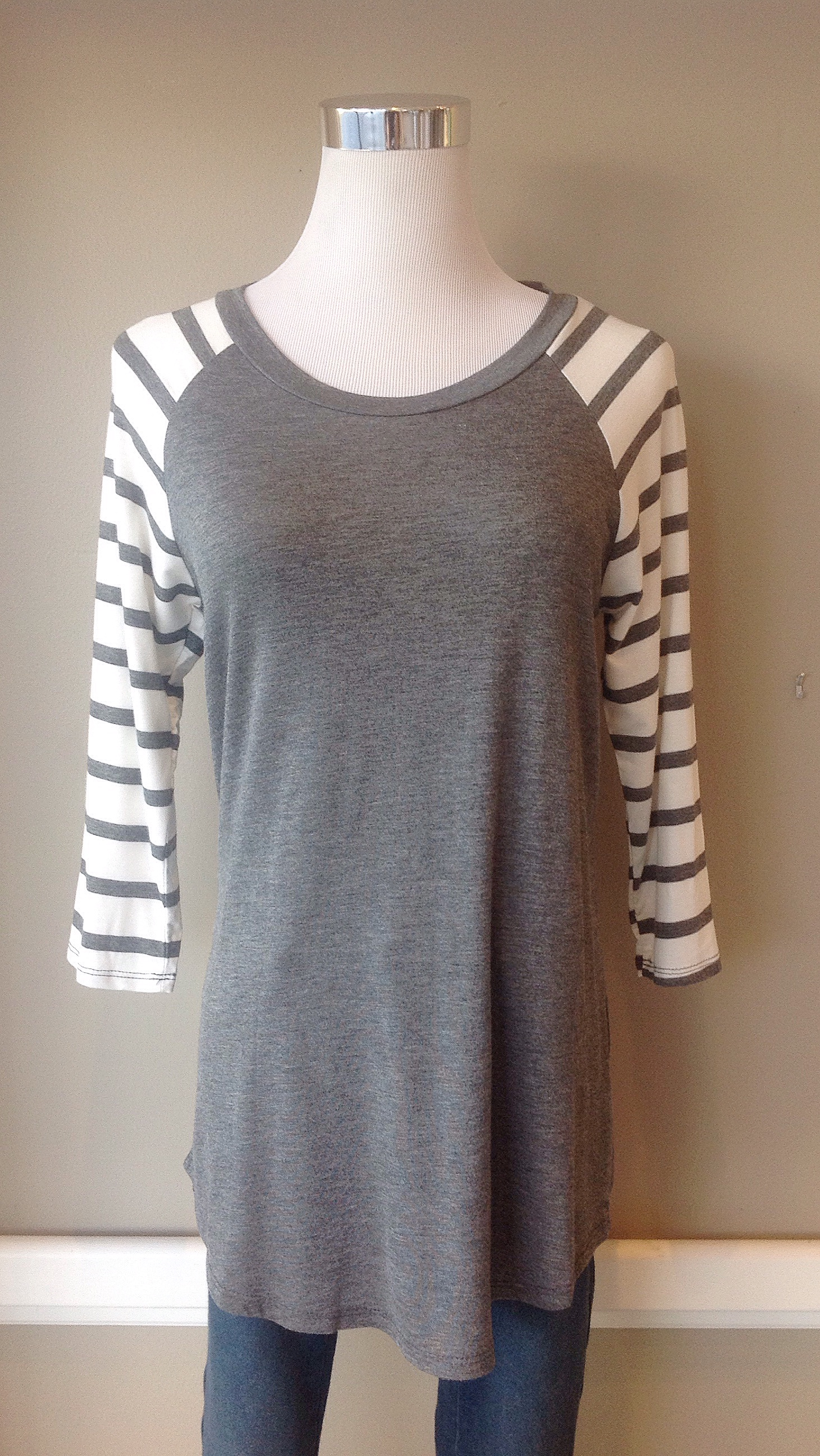 Grey/ivory baseball top, $28