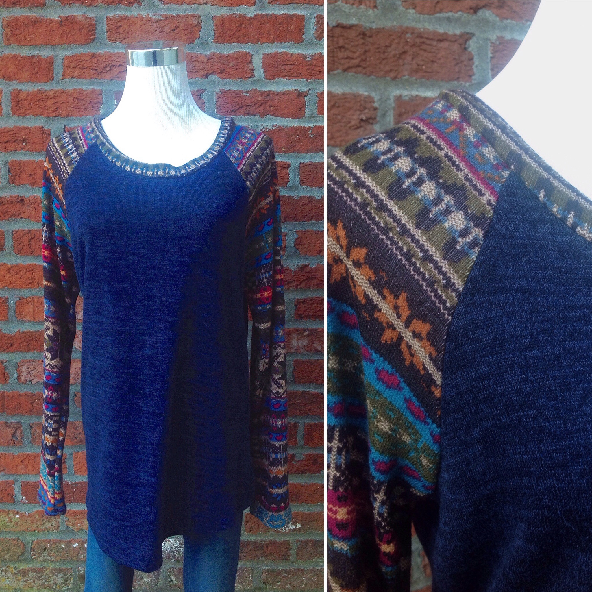Sweater knit top with multi print sleeves, $35