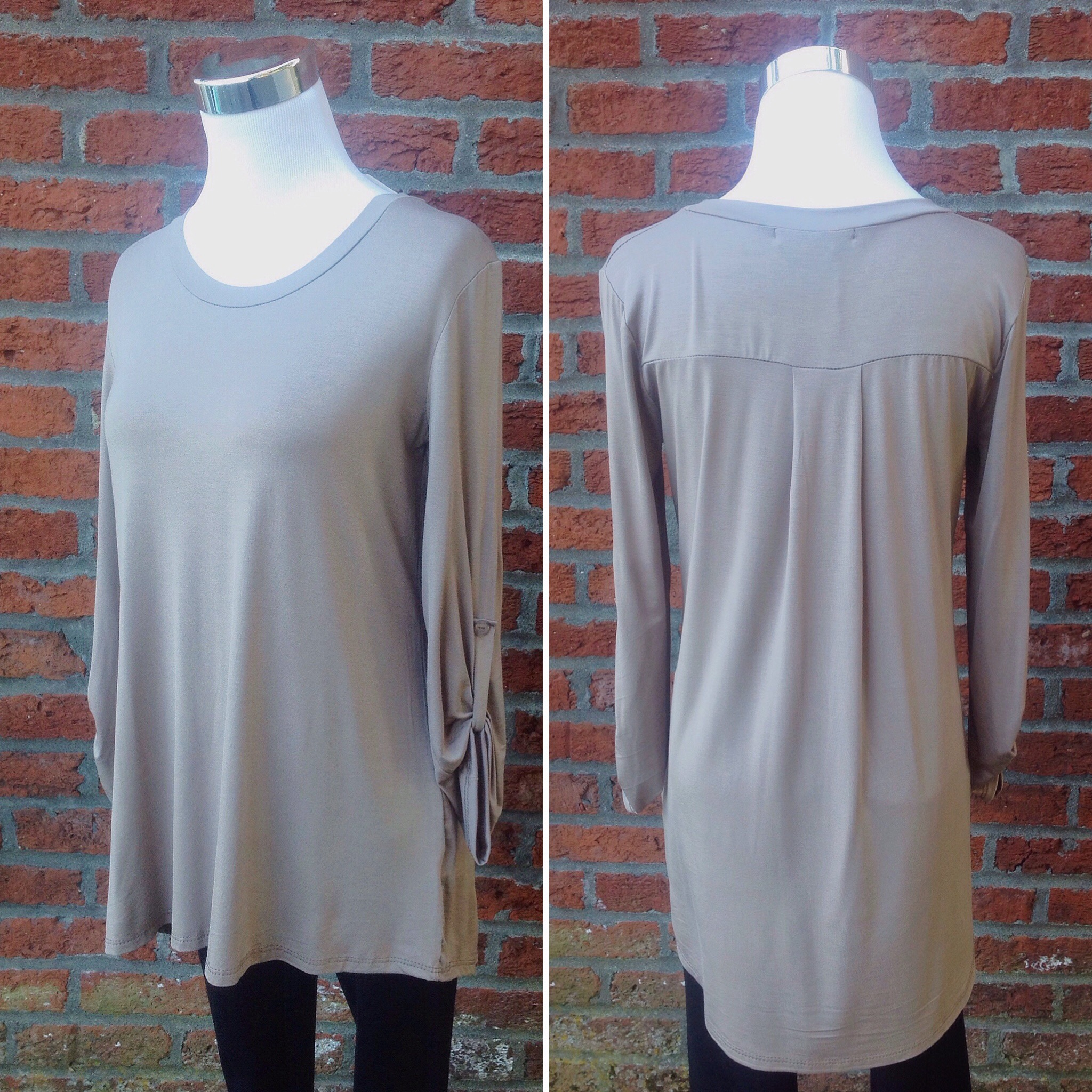 Mocha jersey knit top with roll tab sleeves, $30