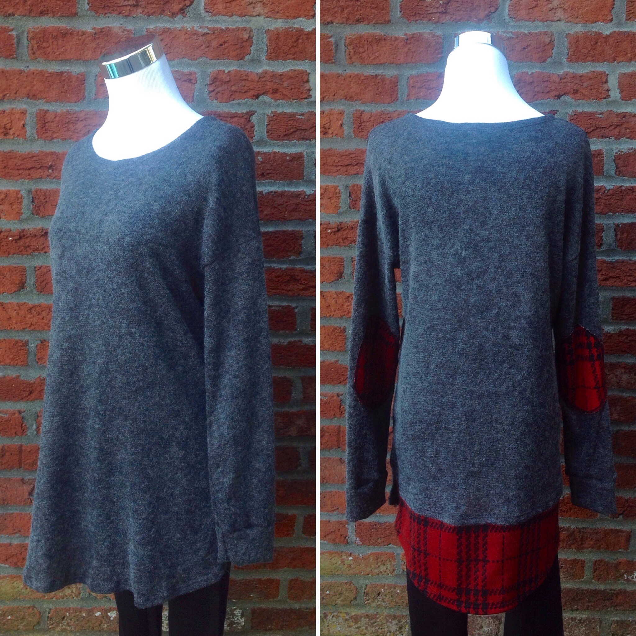 Grey sweater knit tunic with red plaid back hem and elbow patches, $38