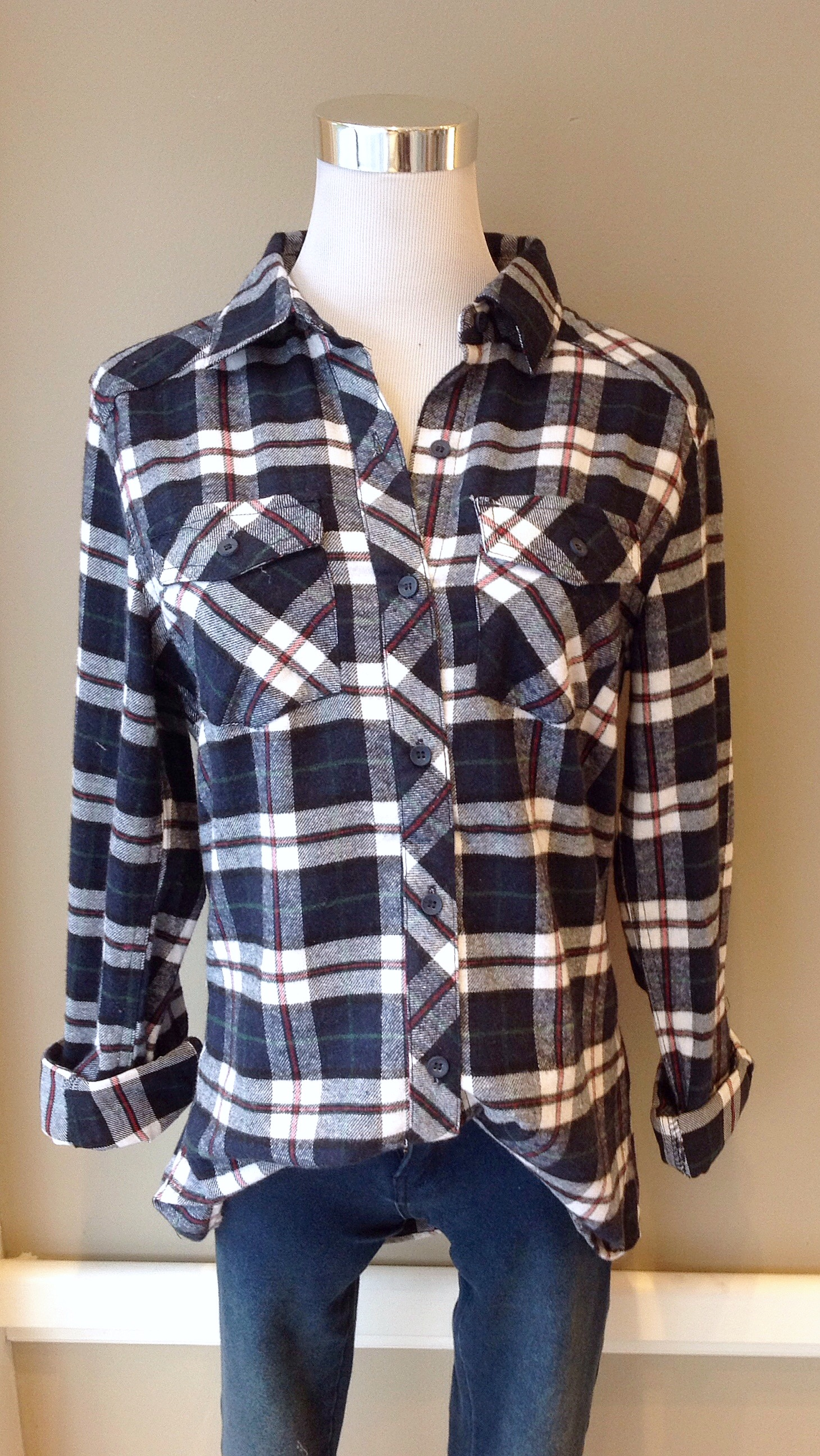 Cotton flannel shirt in navy/white/red/green, $34