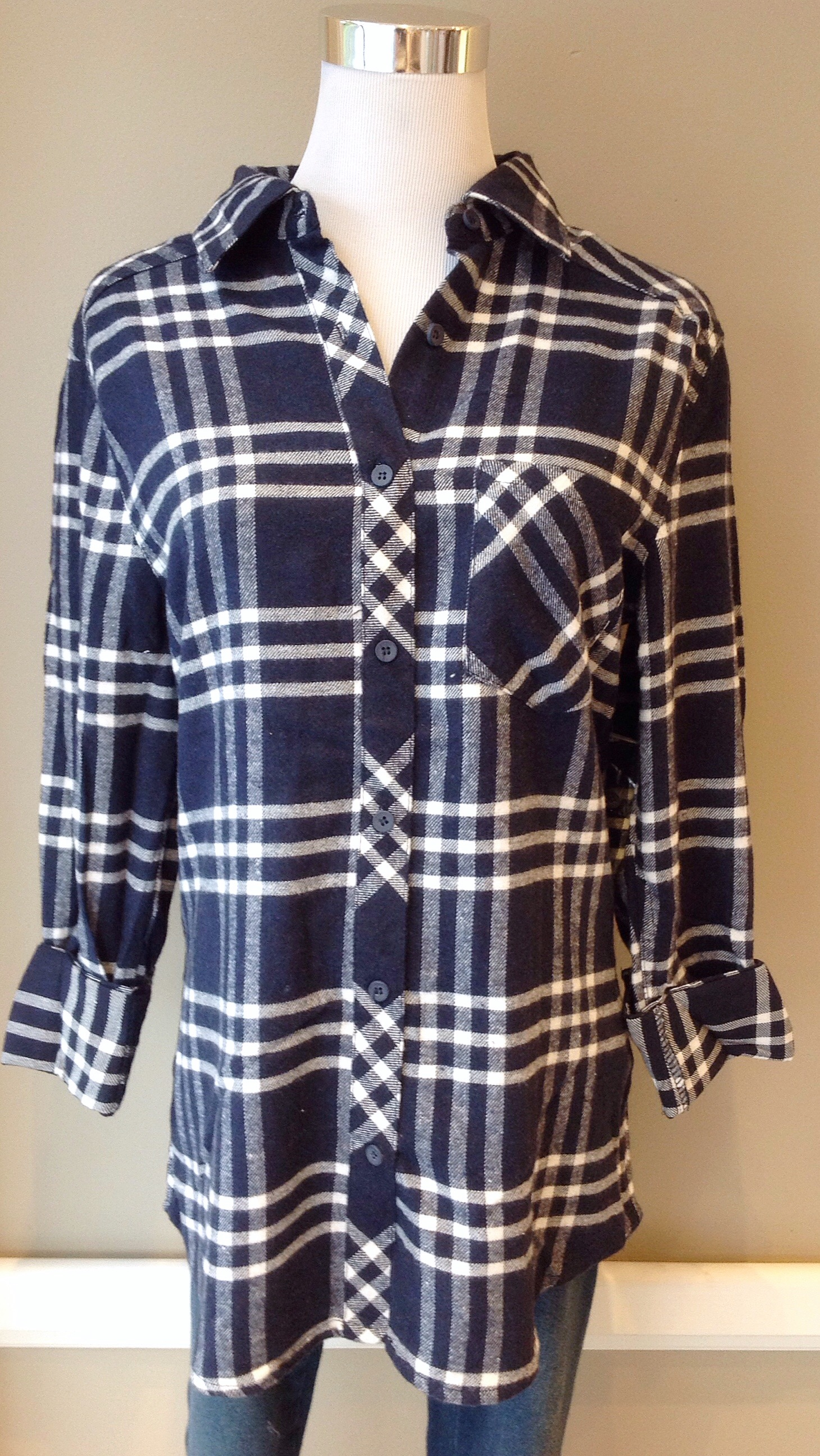 White and navy cotton flannel shirt with elbow patches, $34
