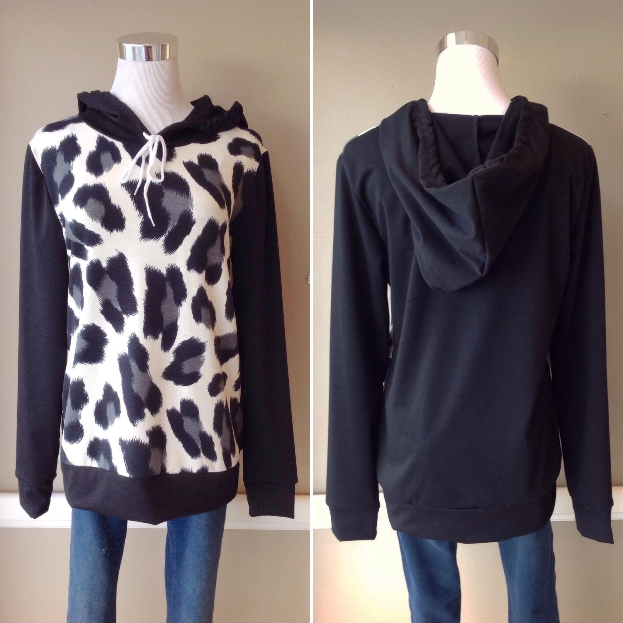 Leopard print hoodie in black/multi, $32