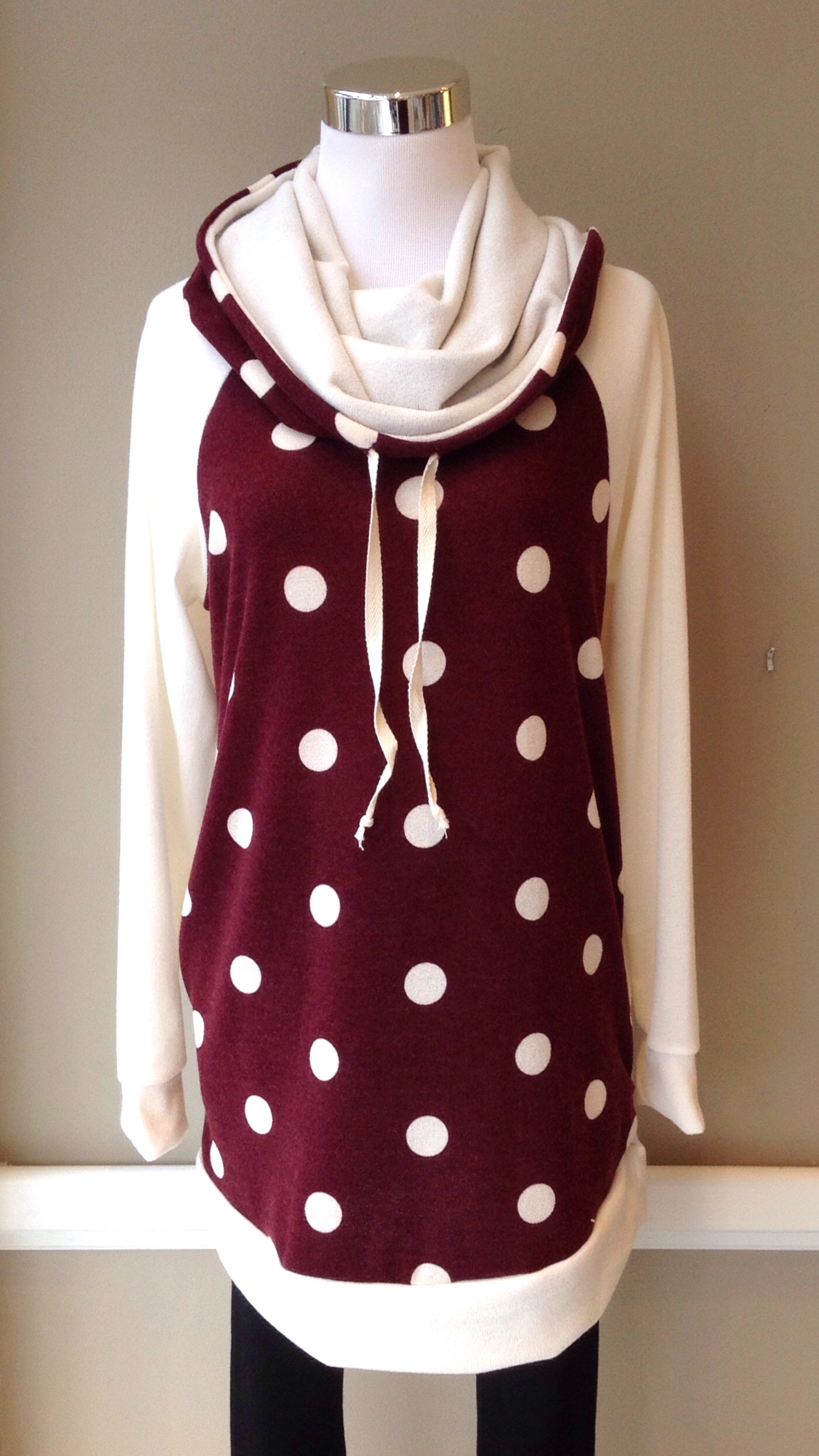 Polka dot hoodie in burgundy/ivory, $38. Also available in ivory/black.
