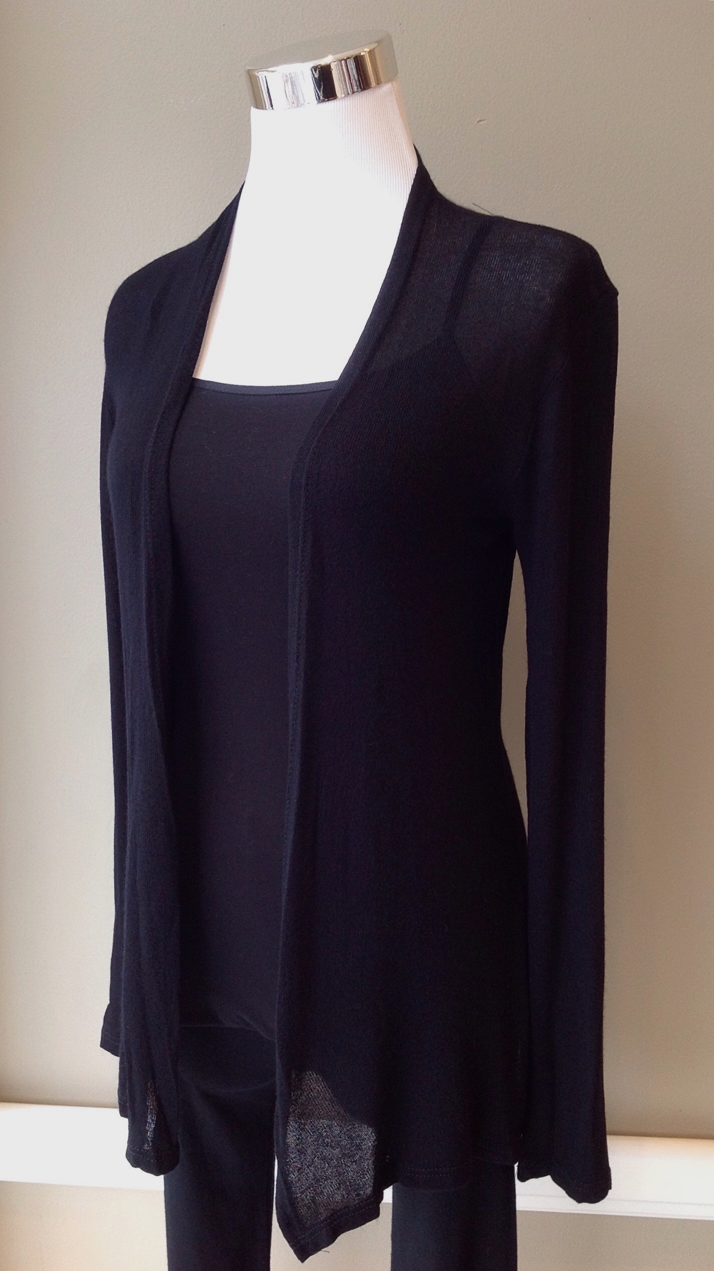 Ultra light knit cardigan in black, $28