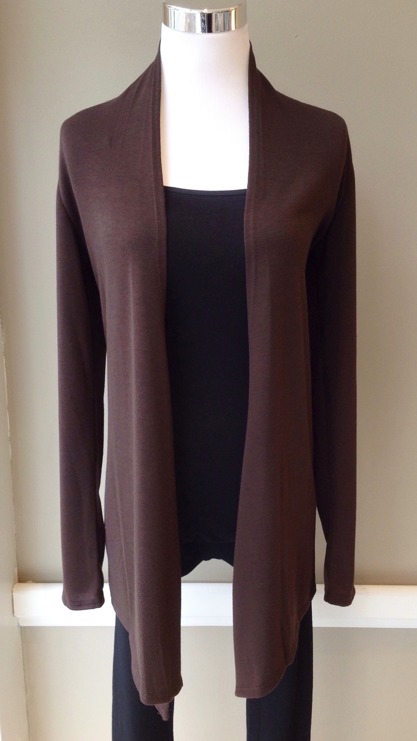 Chocolate brown open front cardigan, $28