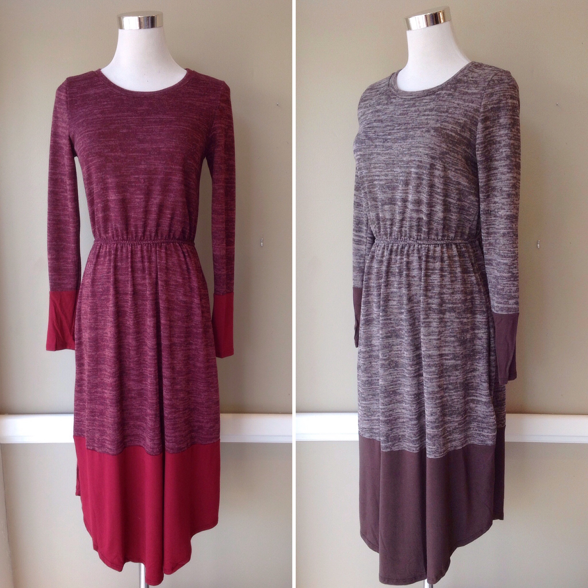 Tri brushed sweater dress with contrasting knit and side seam pockets, $42. Available in mocha and burgundy.