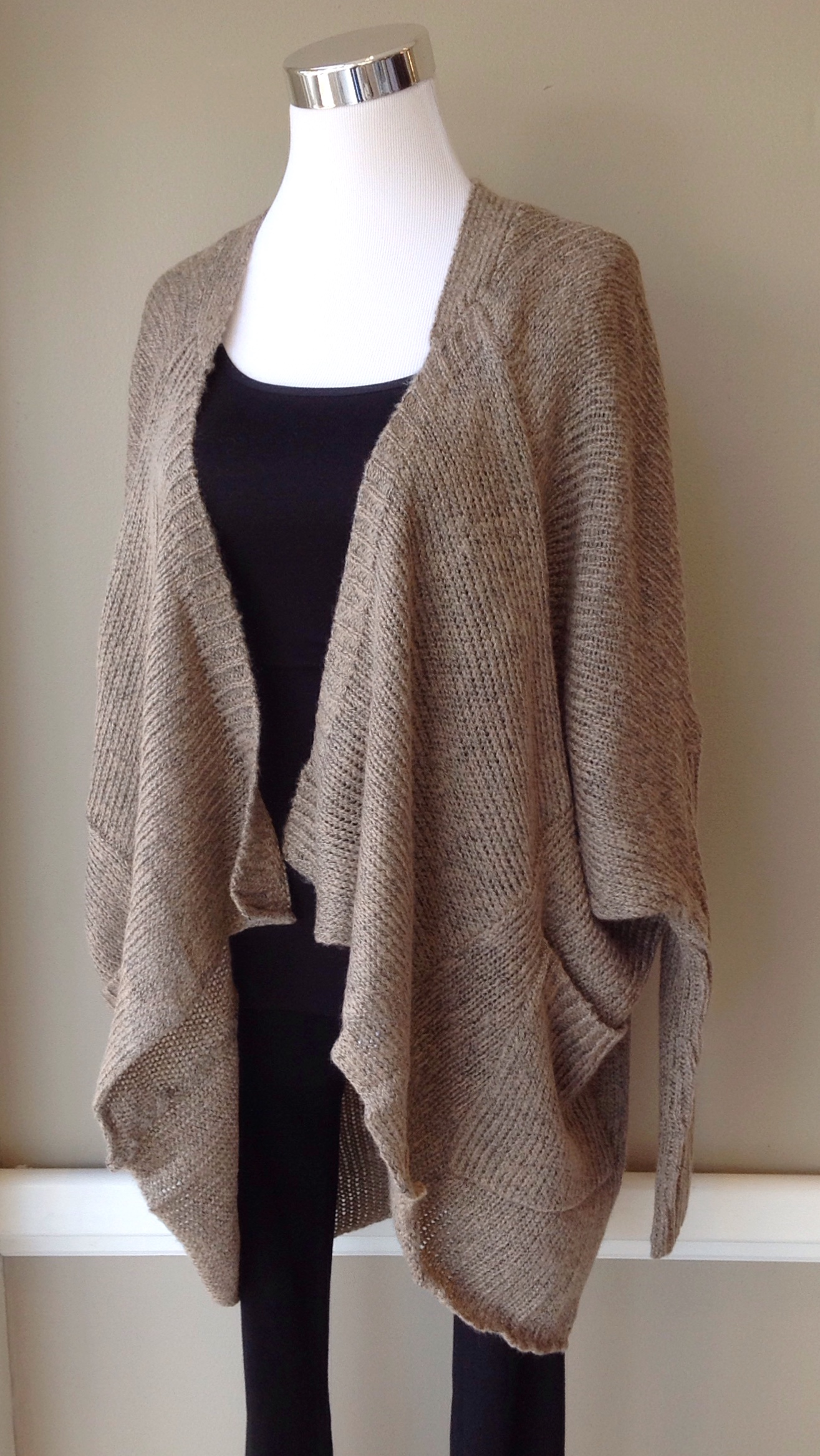 Dropped shoulder, open front cardigan with patch pockets in mocha, $42