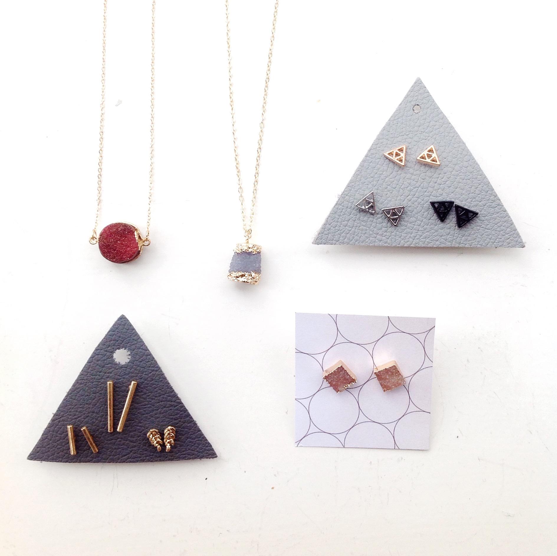 Druzi jewelry and earring trios, $8-$16