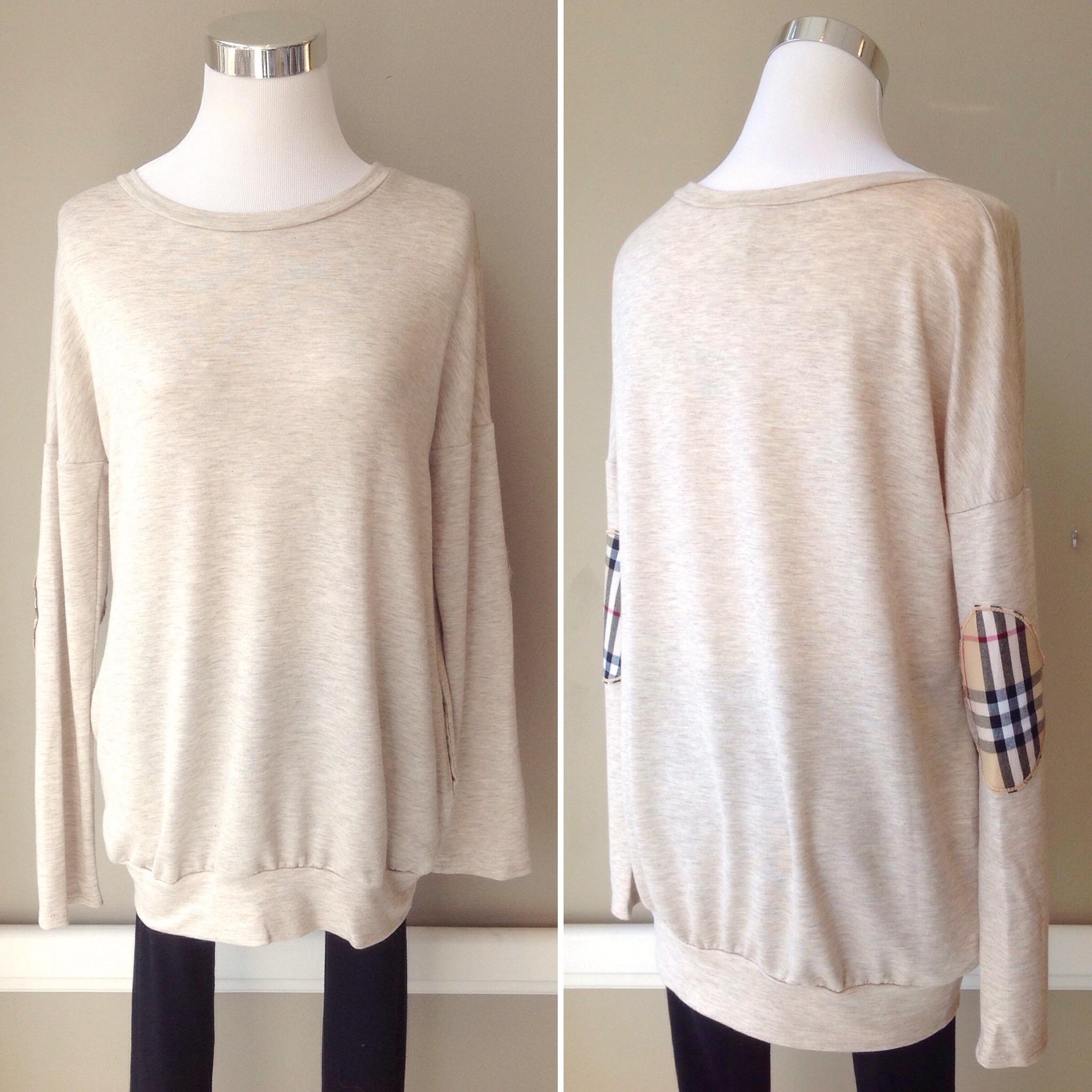 French terry tunic sweatshirt with plaid elbow patches and side seam pockets in oatmeal, $38