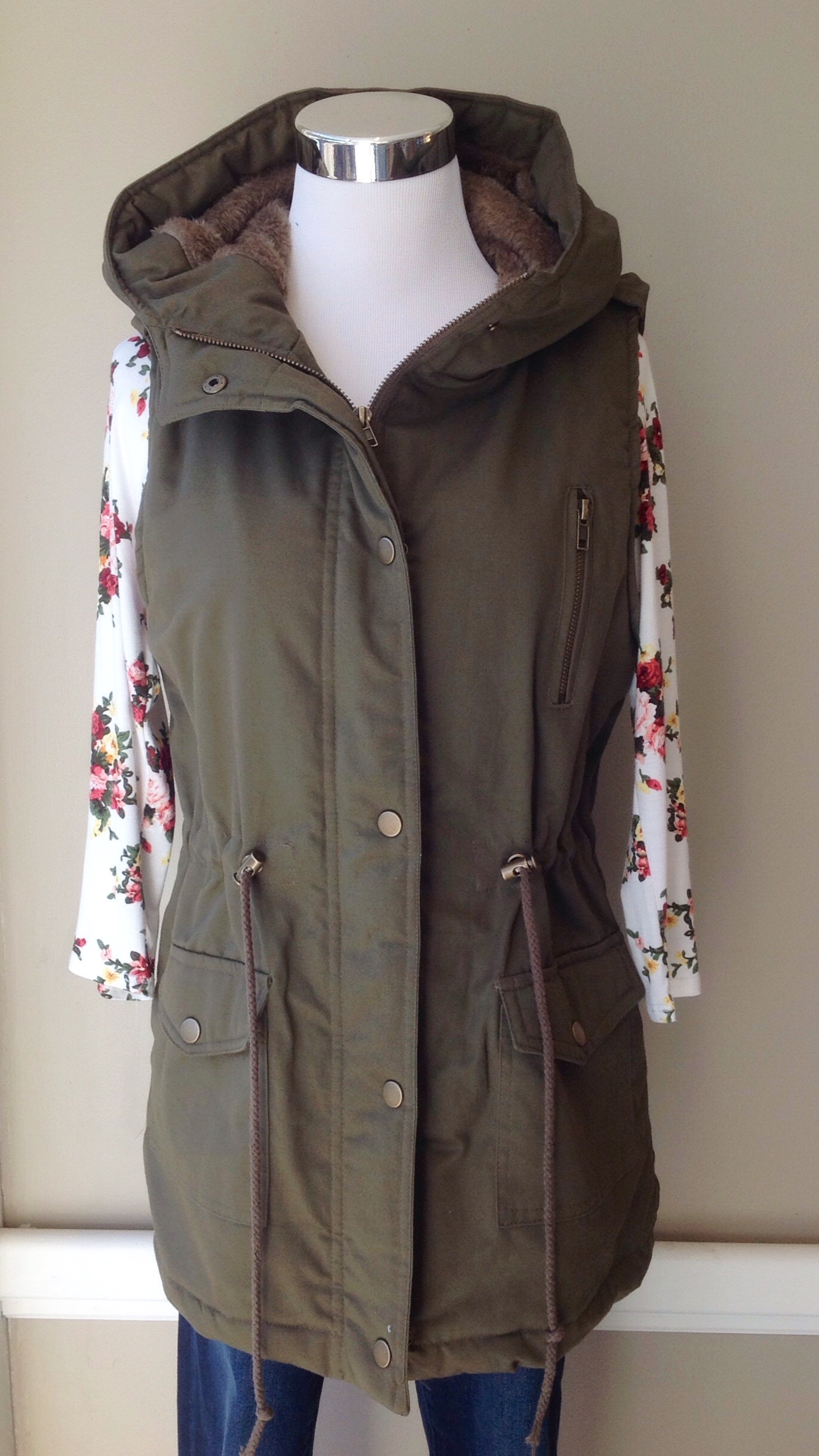 Olive hooded vest with faux fur lining and drawstring waist, $38