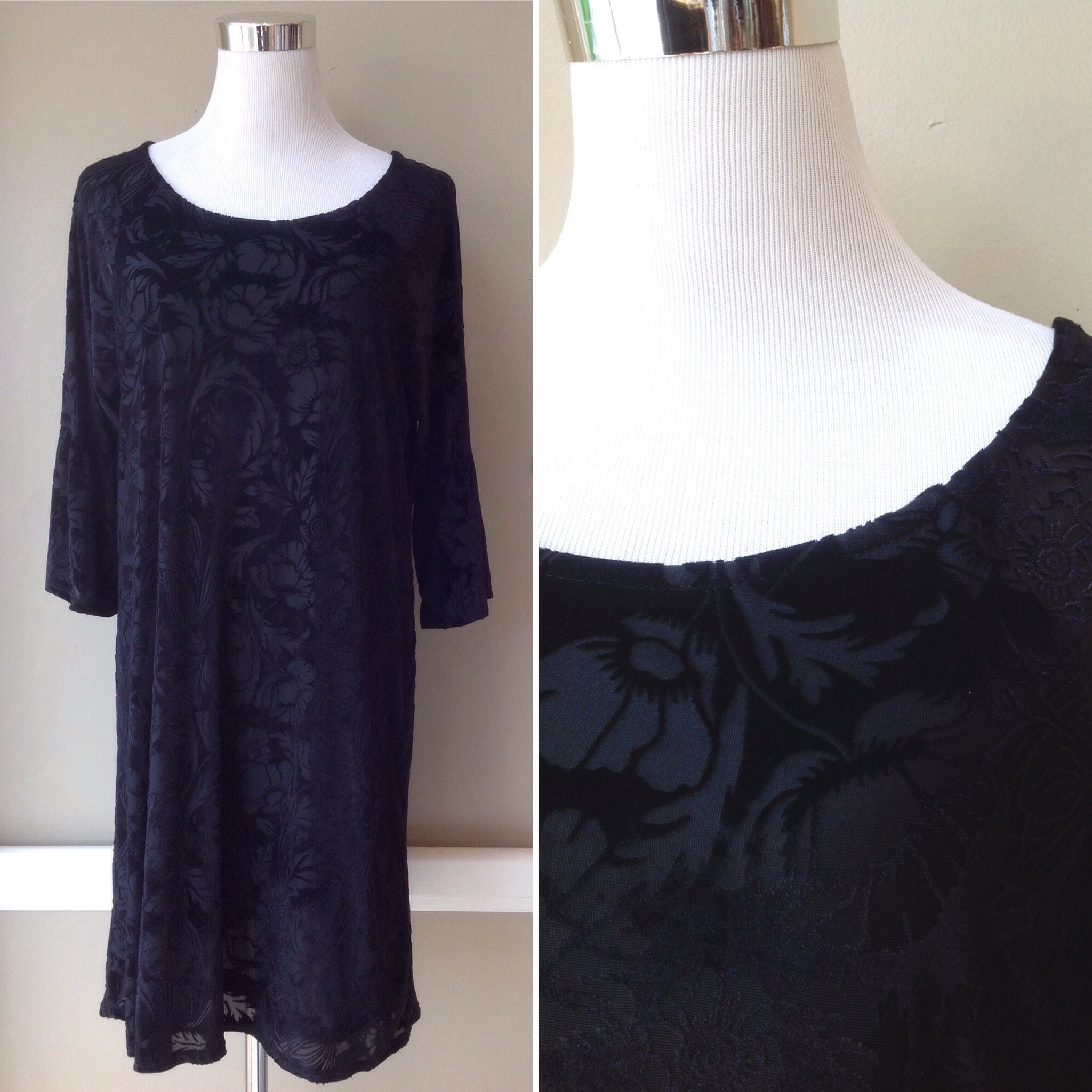 Velvet burnout tunic dress with 3/4 sleeves in black floral print, $52