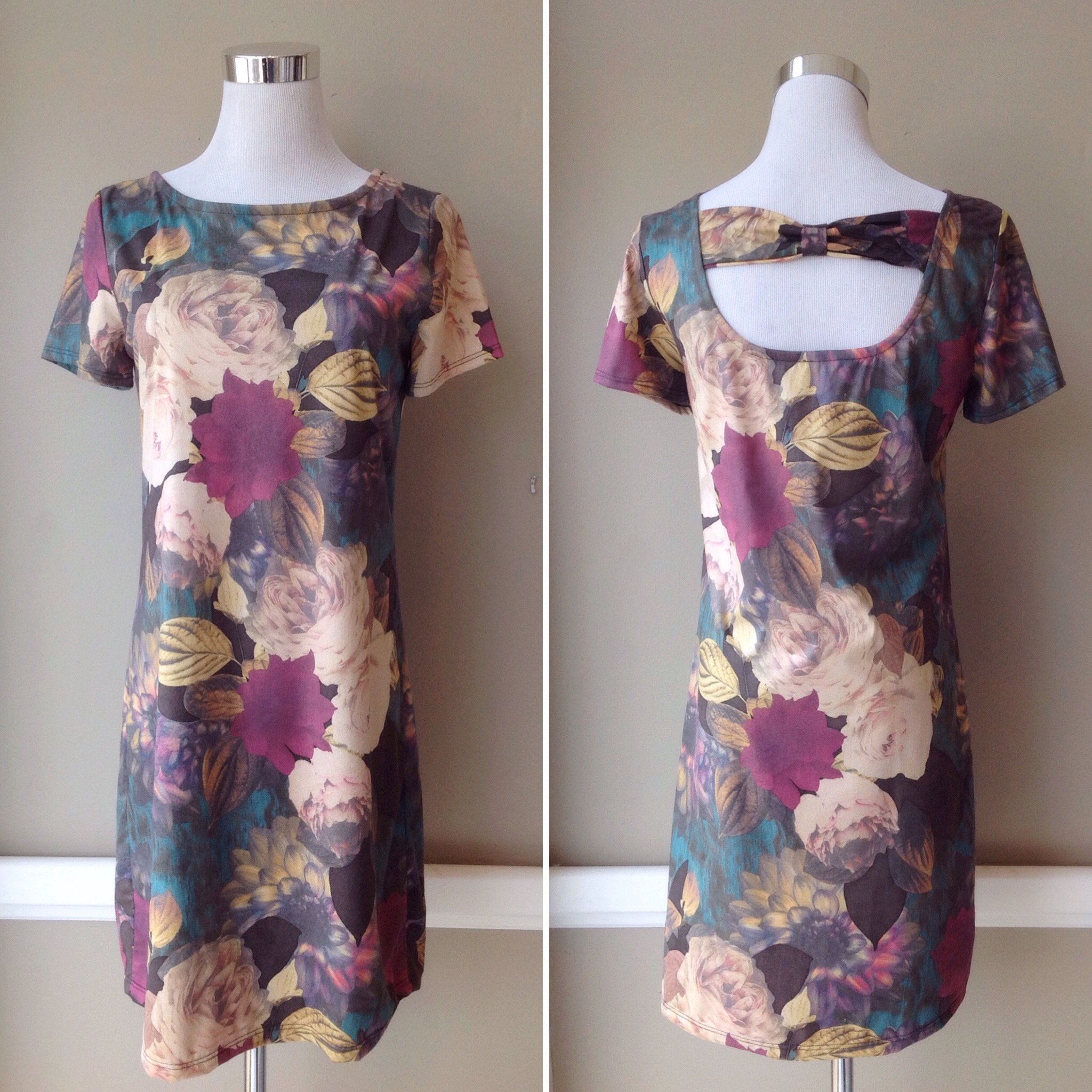 Suede finish, stretch woven shift dress with back band detail in multi floral, $42