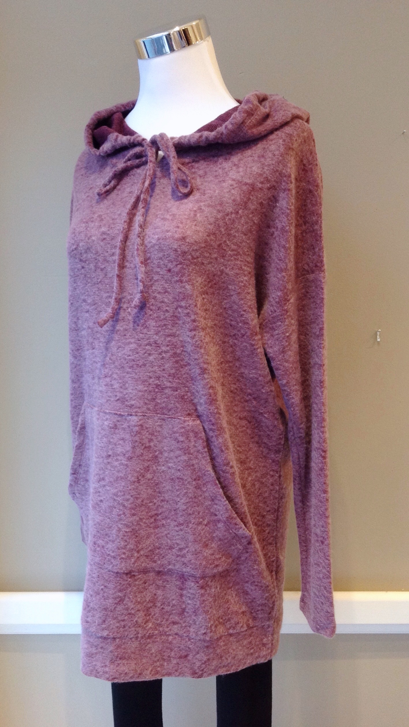 Cherish fleecy knit hoodie with front pocket in burgundy, $38. Also available in light grey.
