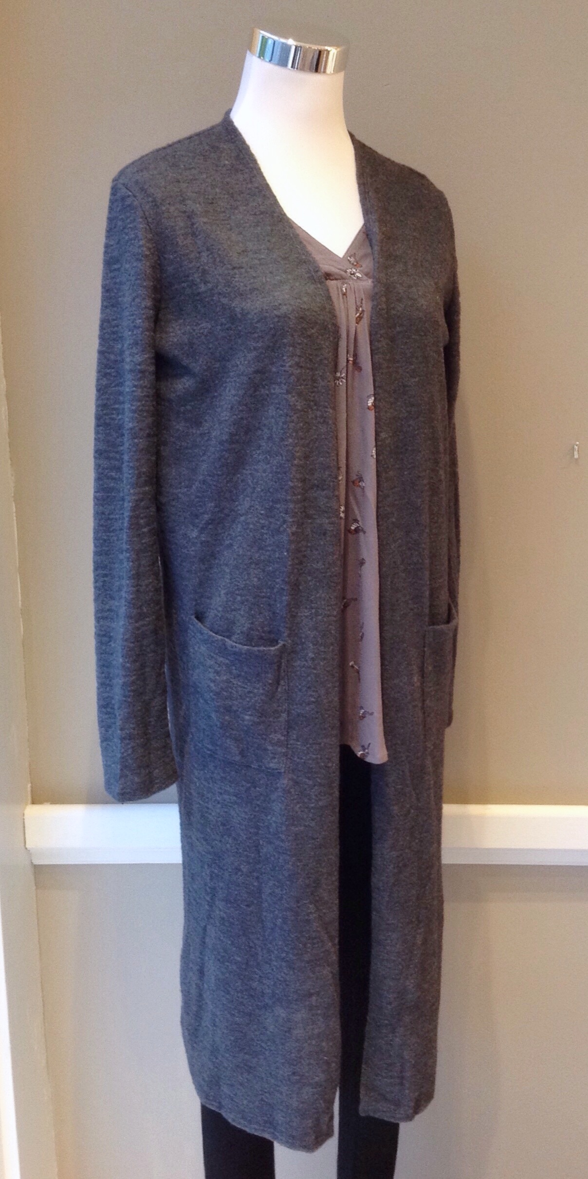 Long open front cardigan with patch pockets in charcoal, $38