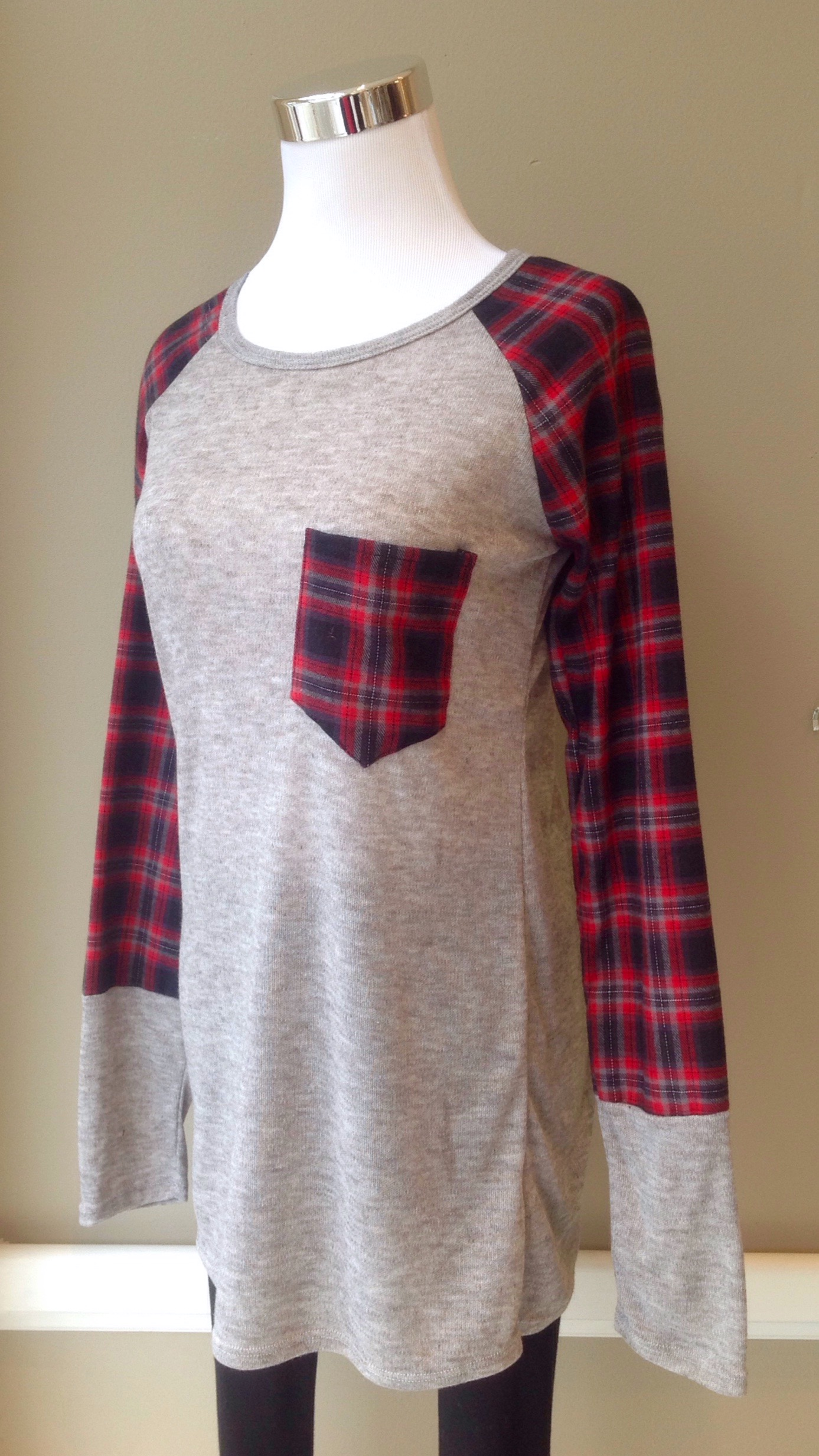 Plaid and heather grey knit baseball top, $32