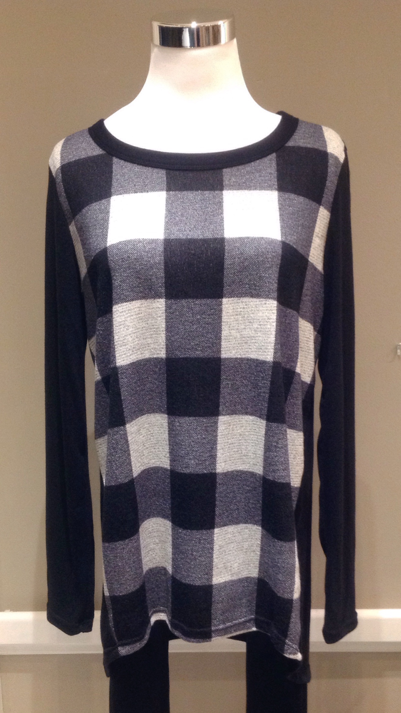Buffalo check top with high-low hem, and solid black sleeves and back panel, $32