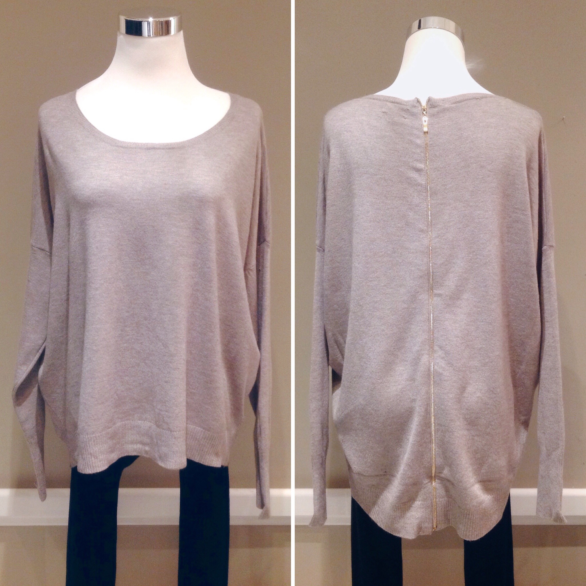 Ultra soft cotton/rayon sweater with back zipper in mocha, $42