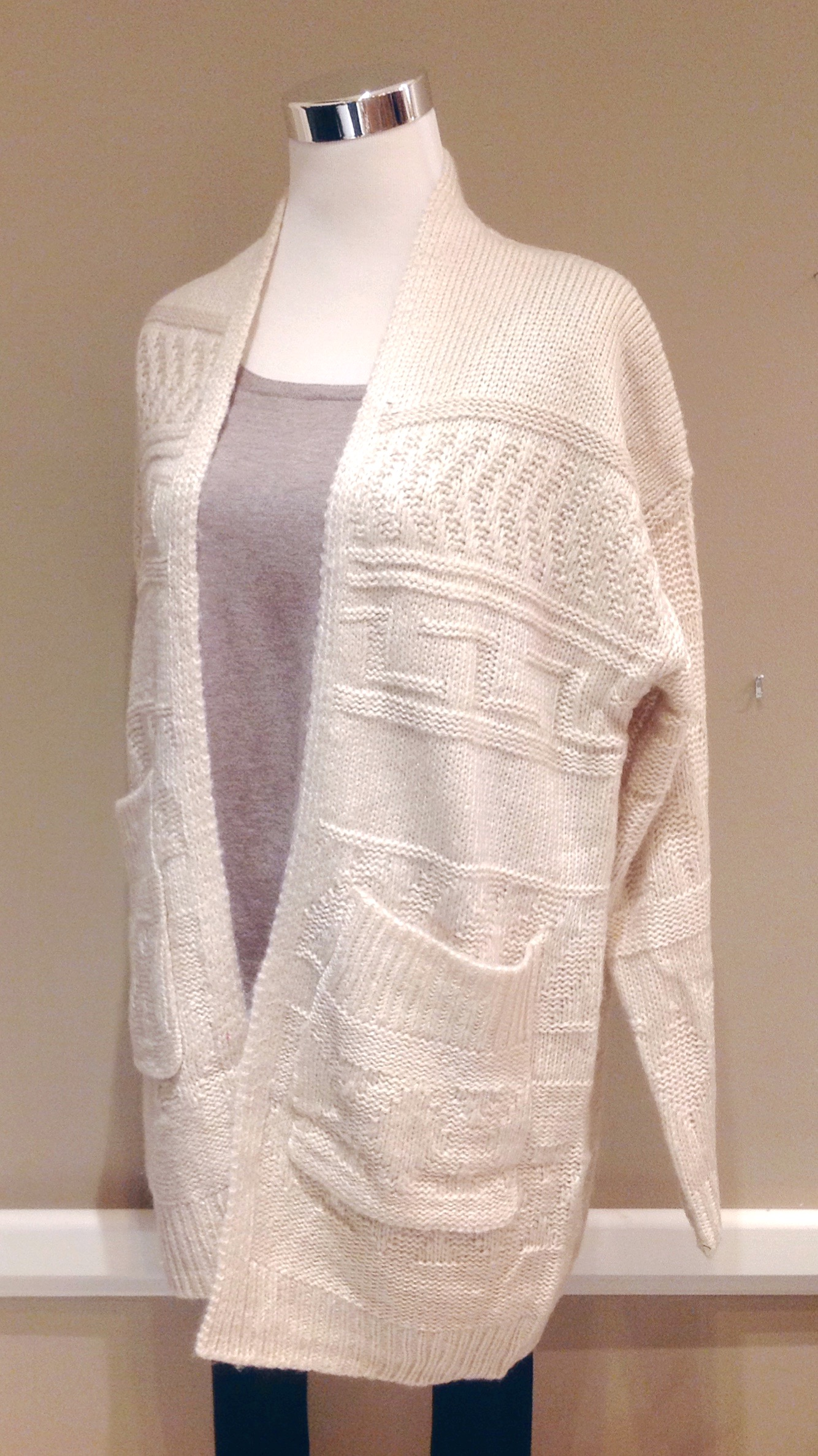 Taupe patterned knit cardigan with patch pockets, $48