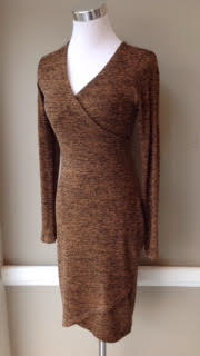 Wrap front, sweater knit dress in two-tone rust, $45