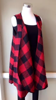 Buffalo check vest with side pockets and black trim, $42