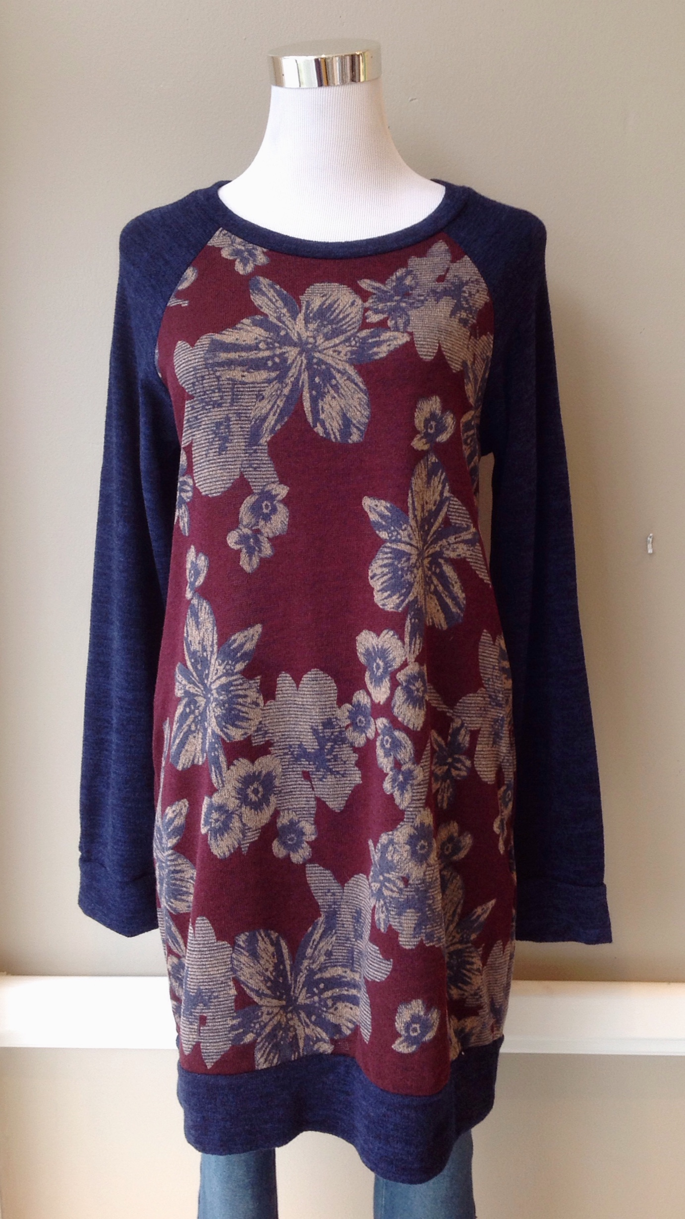 Floral print sweater dress with side pockets and elbow patches in wine/navy, $38