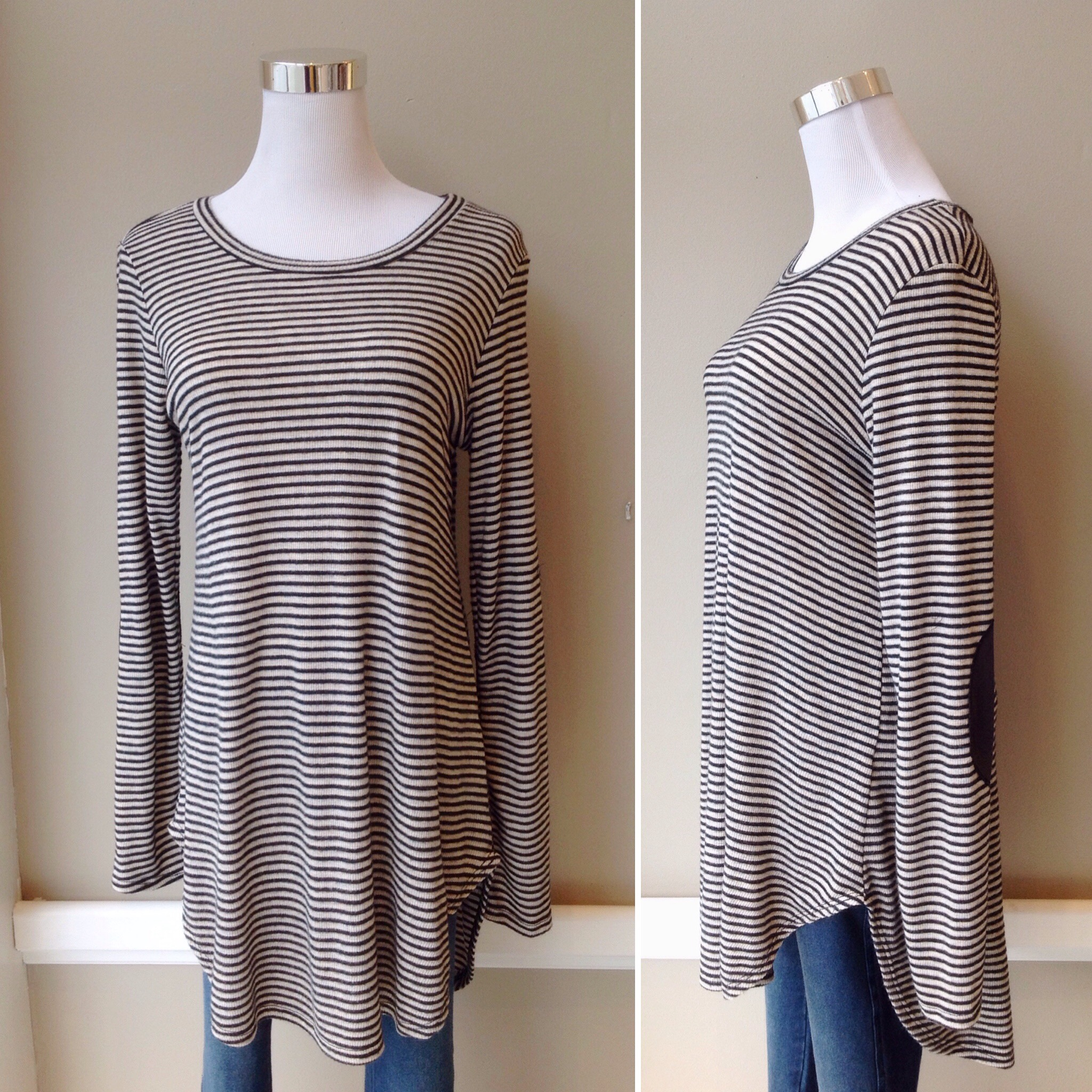 Brushed knit top with rounded hem and elbow patches in taupe/black stripe, $34