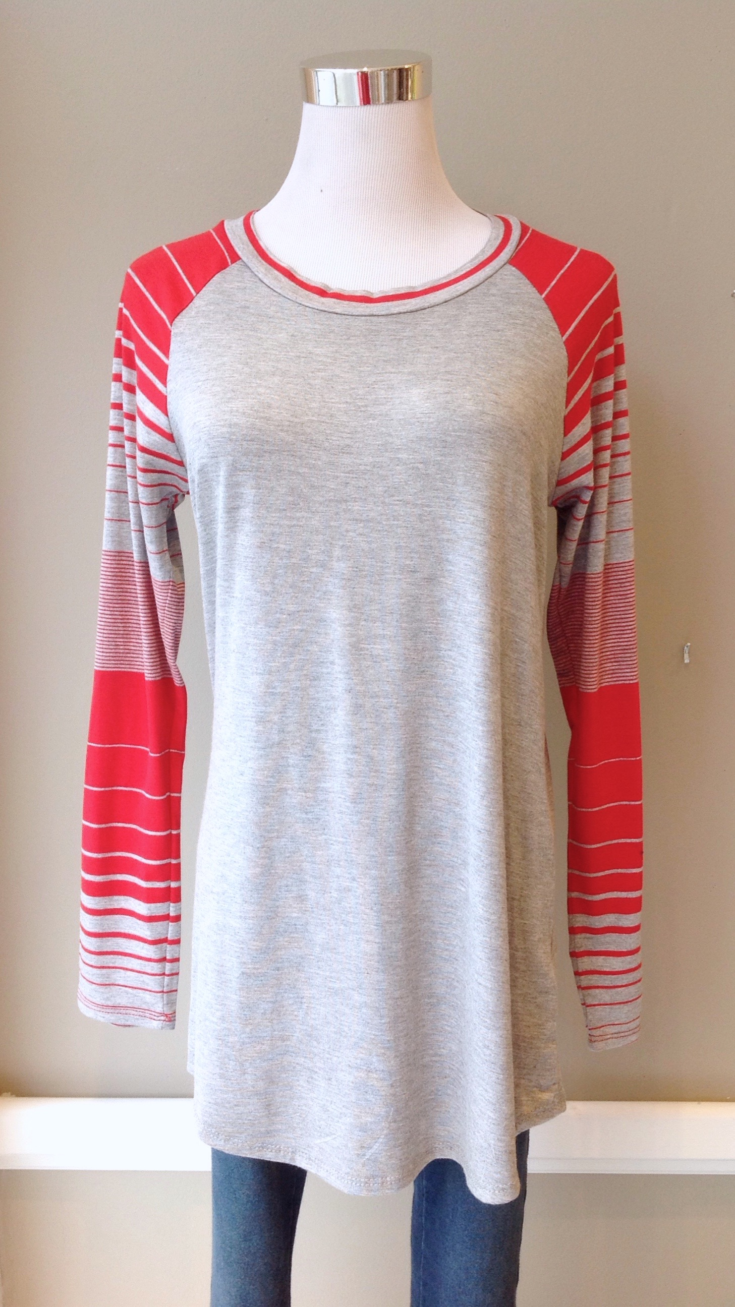 Solid and stripe baseball tunic in heather grey/red, $30
