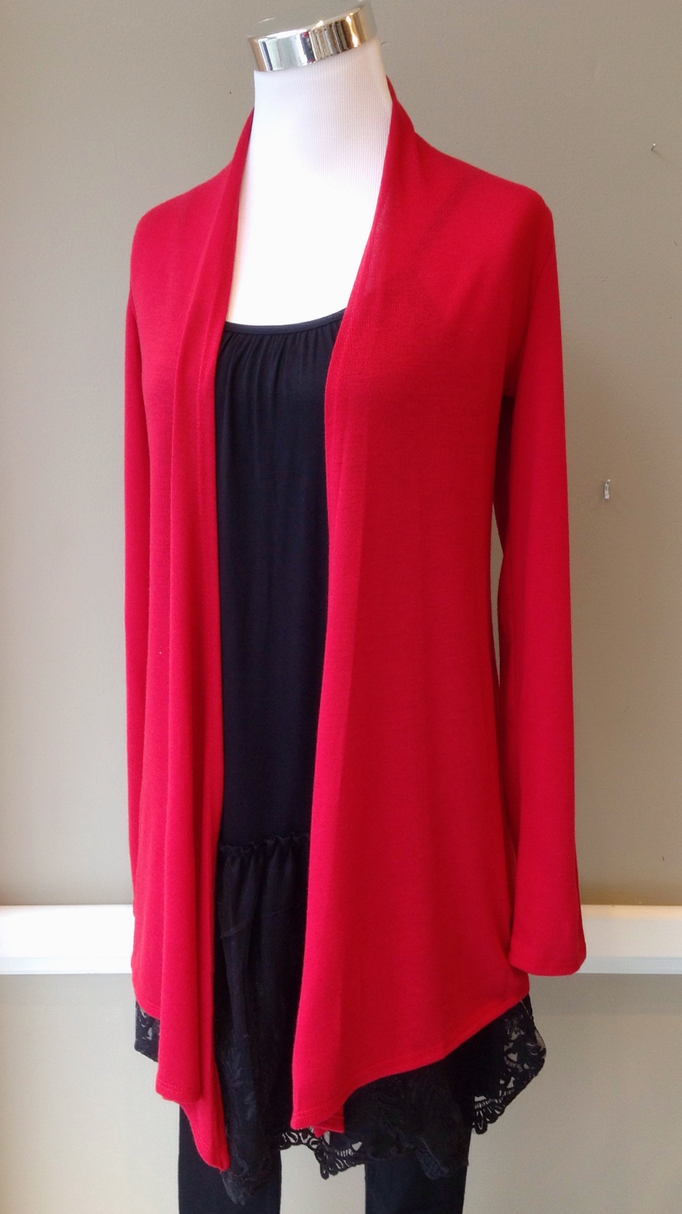 Open front cardigan in poppy red, $28