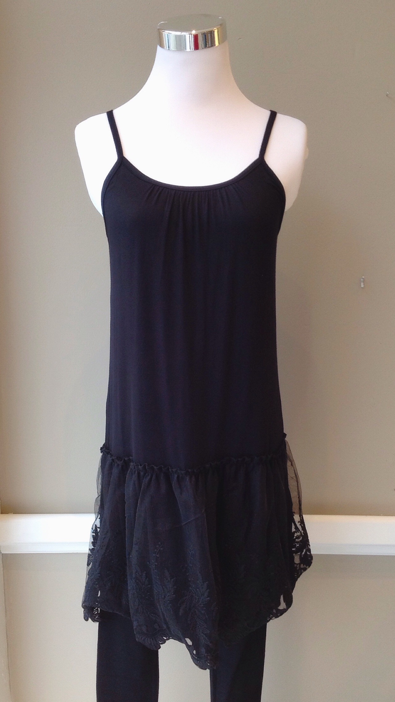 Long black tank with lace peplum, $38