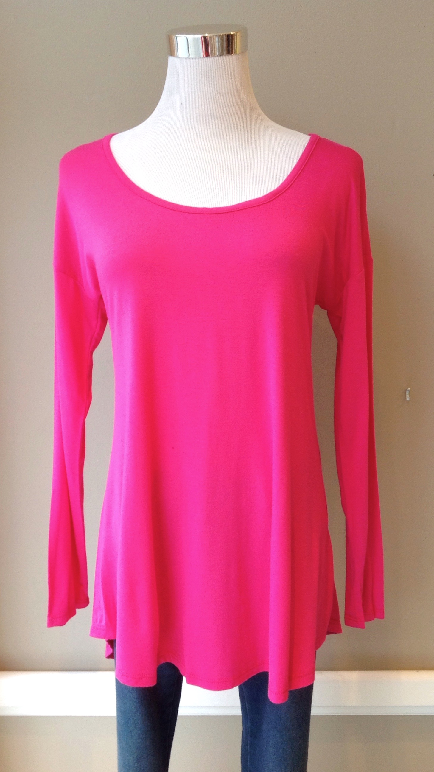 Fuchsia scoop neck top, $26