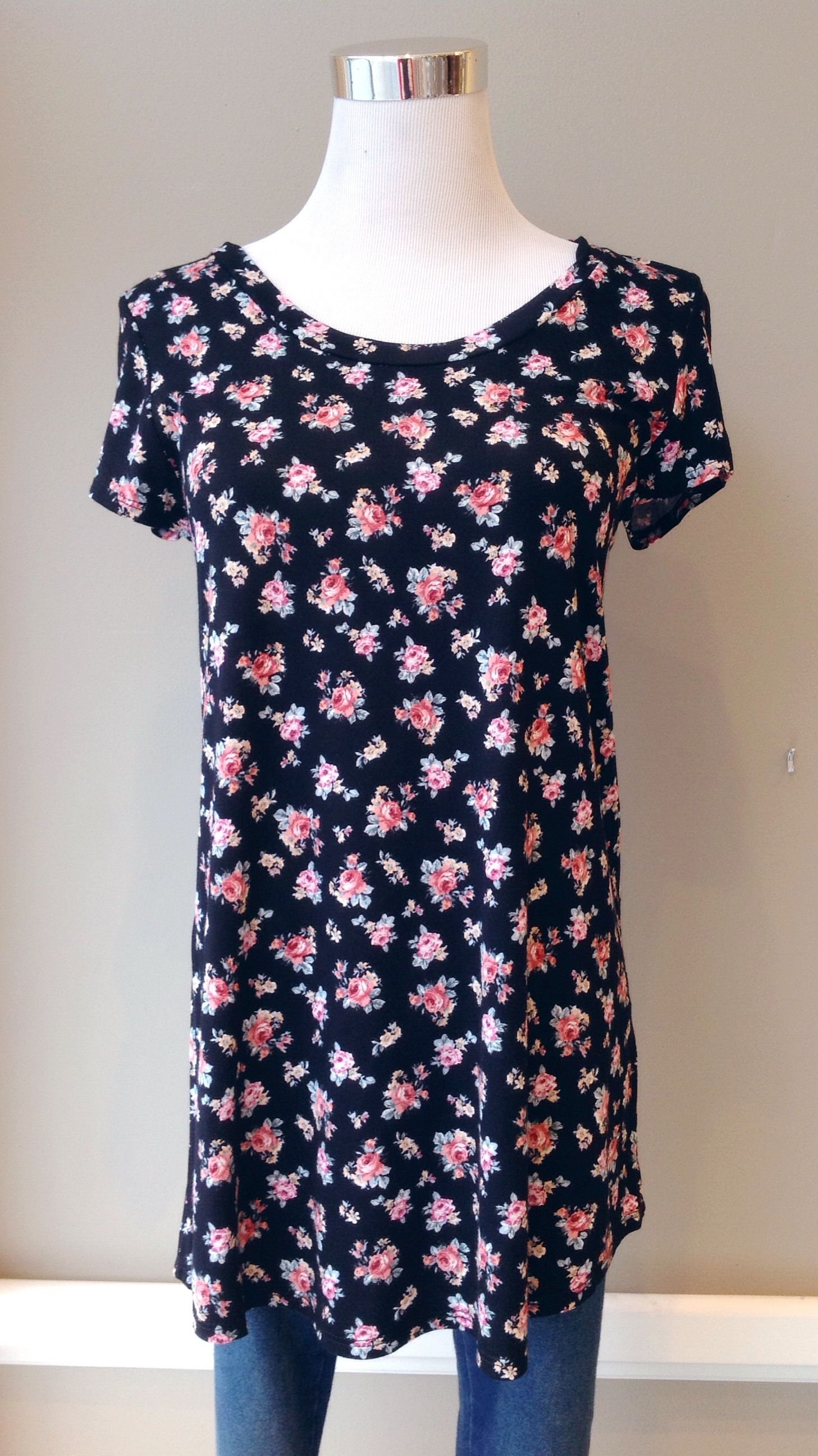 Long floral tee in black/pink floral, $26