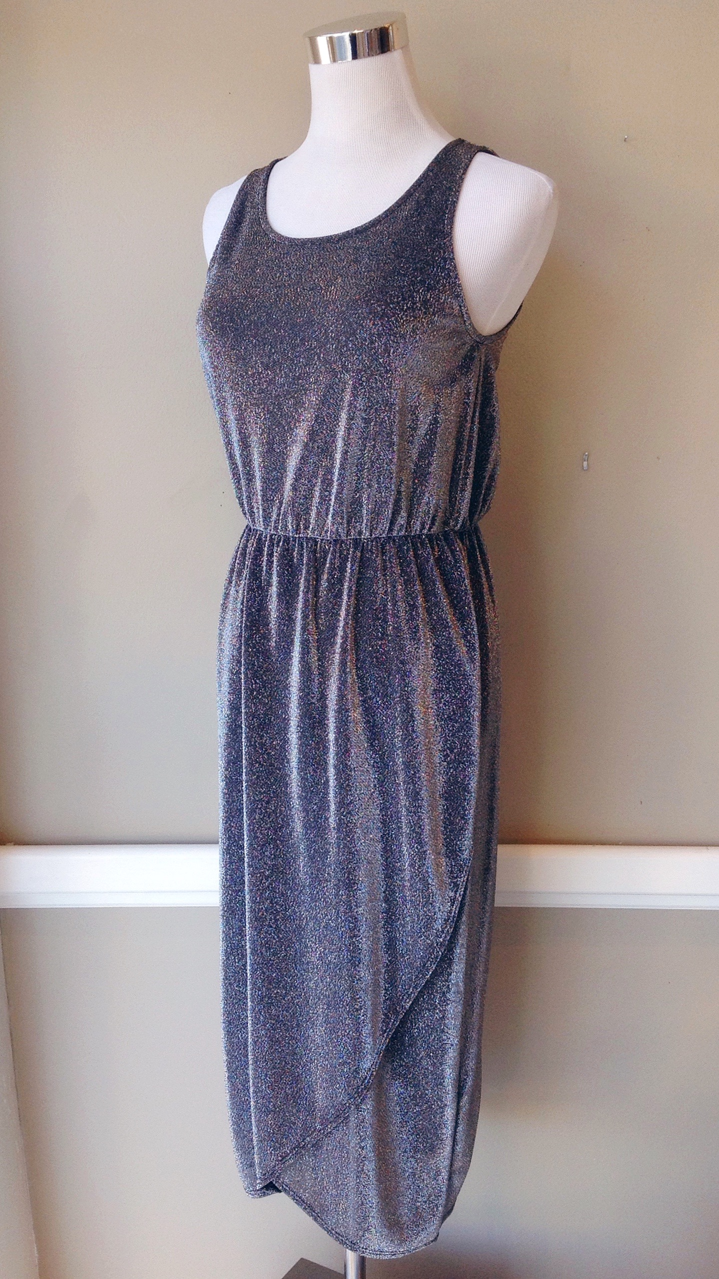 Silver sparkle midi dress, $38