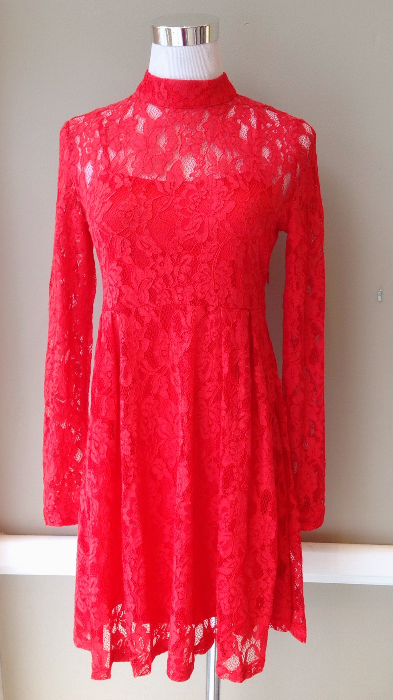 Long sleeve lace dress with mock neck and matching slip, $54