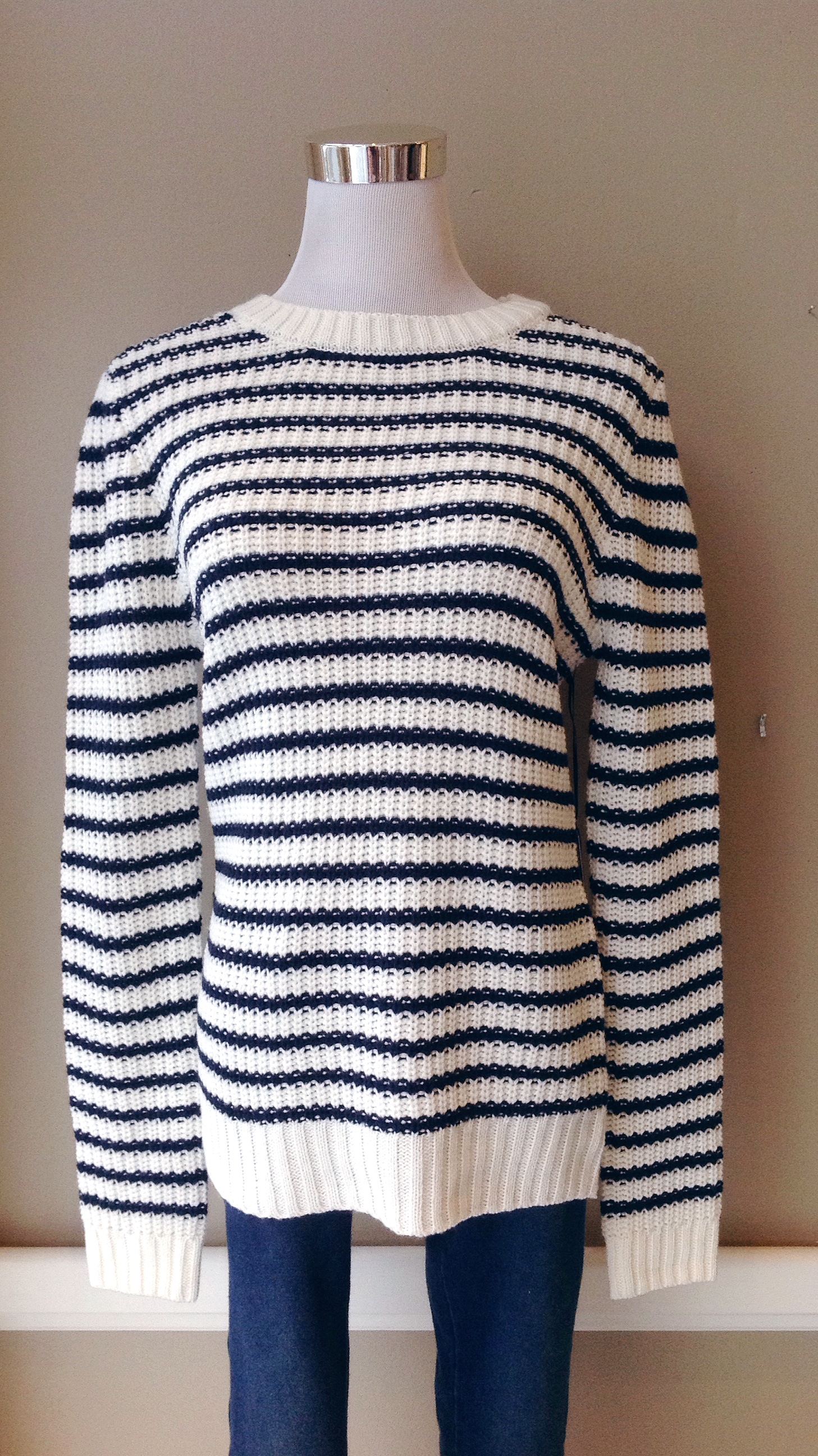 Chunky knit sweater in navy and ivory stripe, $35
