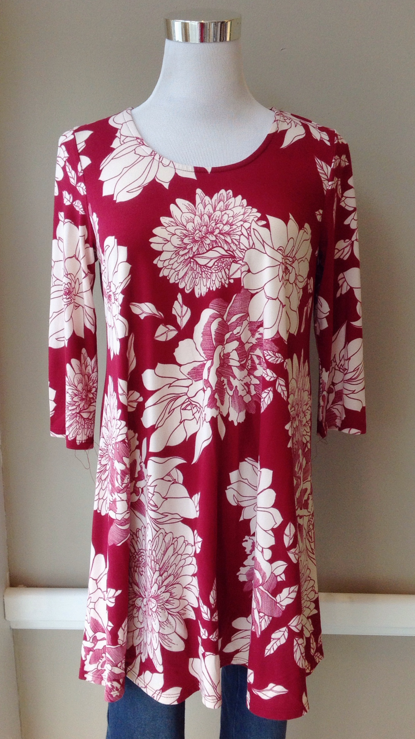 Floral swing tunic with 3/4 sleeves in burgundy/ivory,  $32