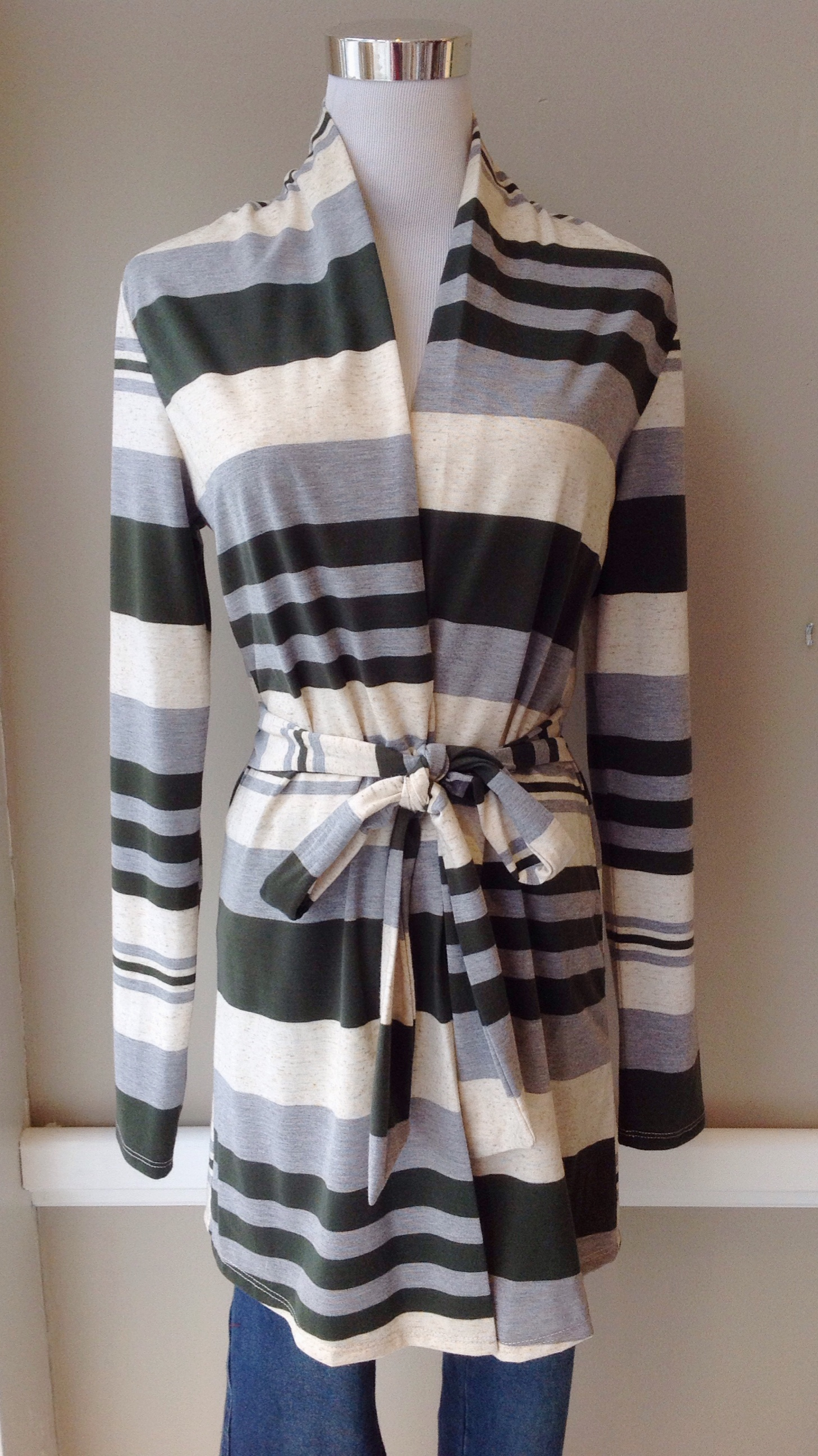 Stripe belted cardigan in olive/grey/ivory,   $34