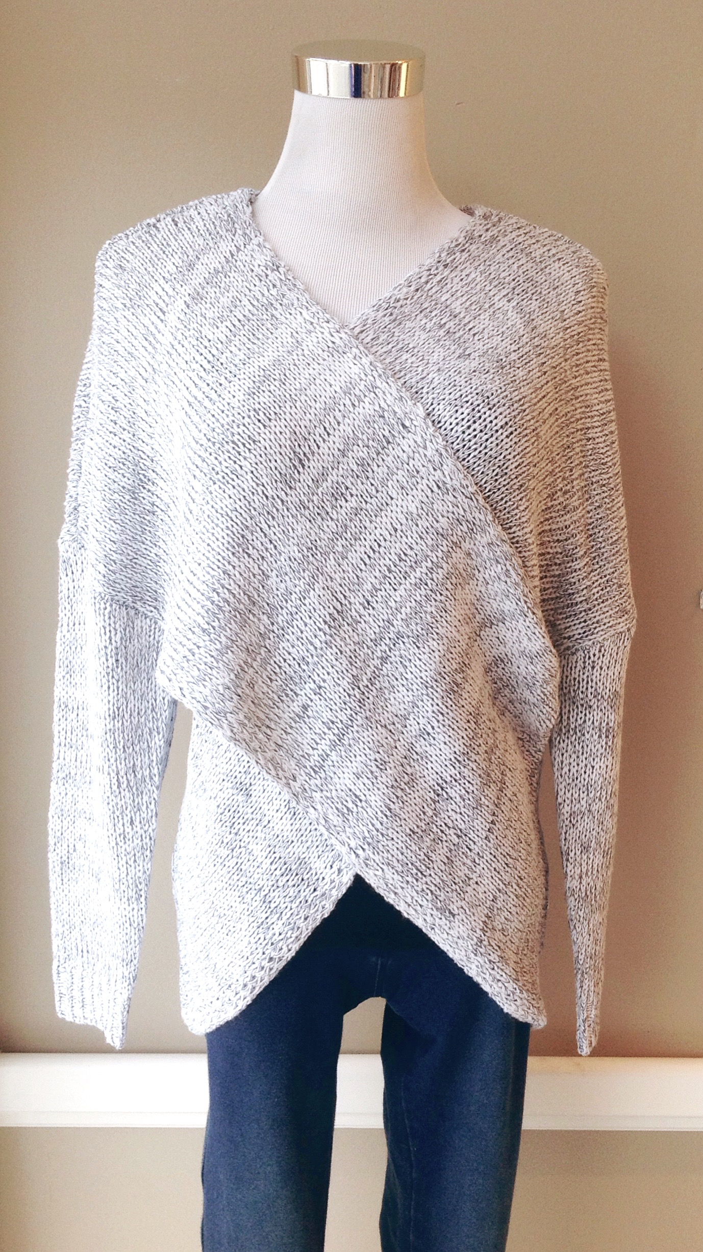 Cross front sweater in heather grey, $38