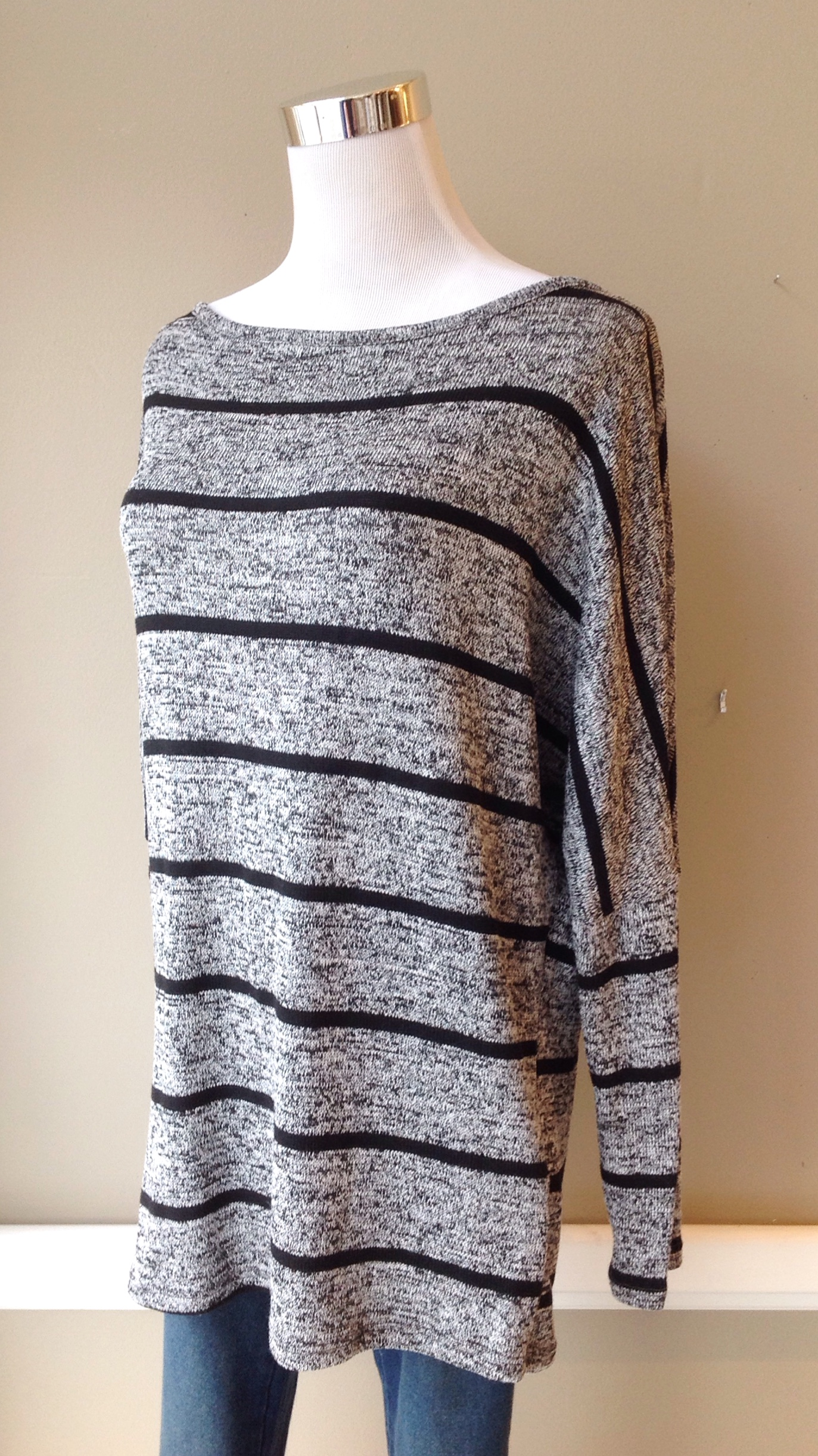 Lightweight marl and  stripe sweater with dolman sleeves in black and white, $32