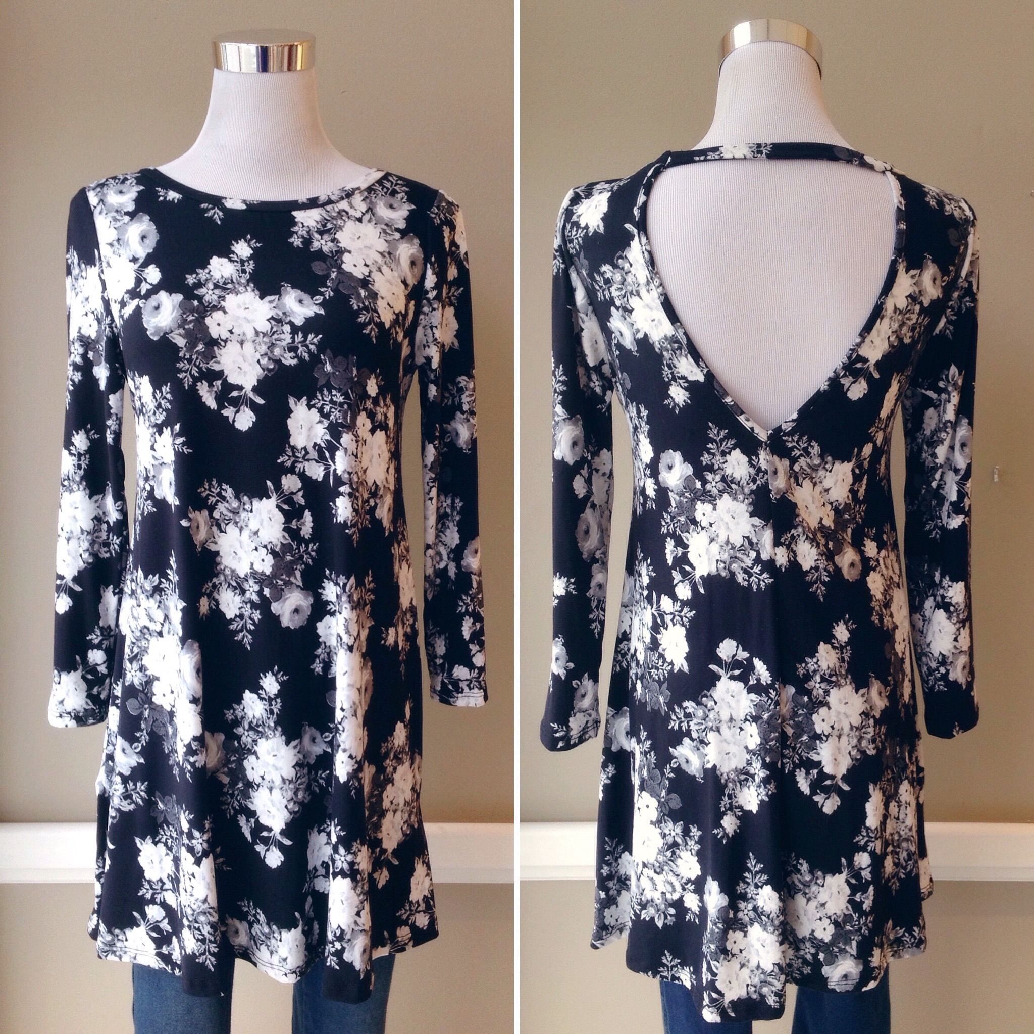Soft floral knit tunic with deep v back and band detail, $34