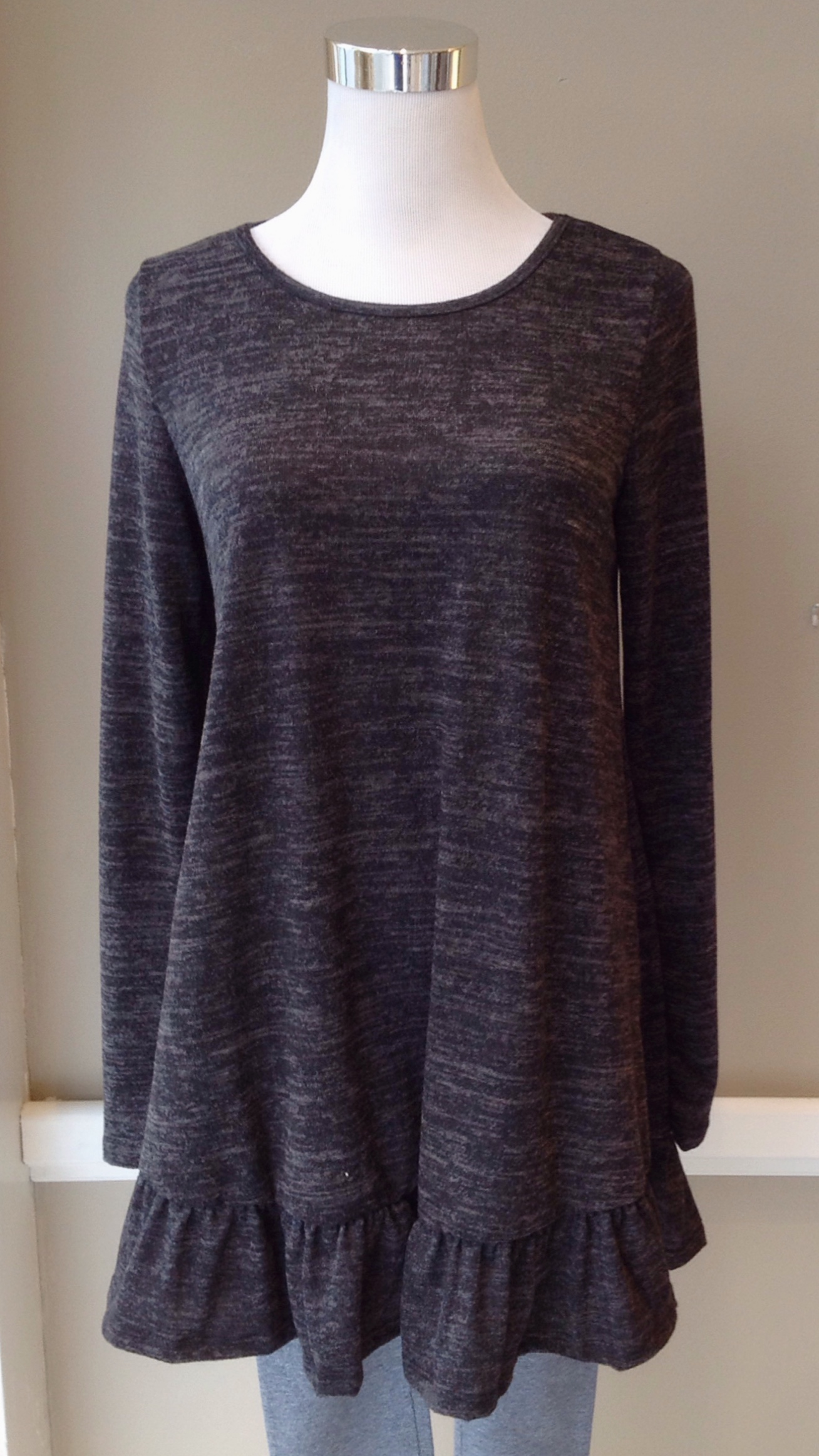 Long ruffled hem sweater in heathered charcoal, $35