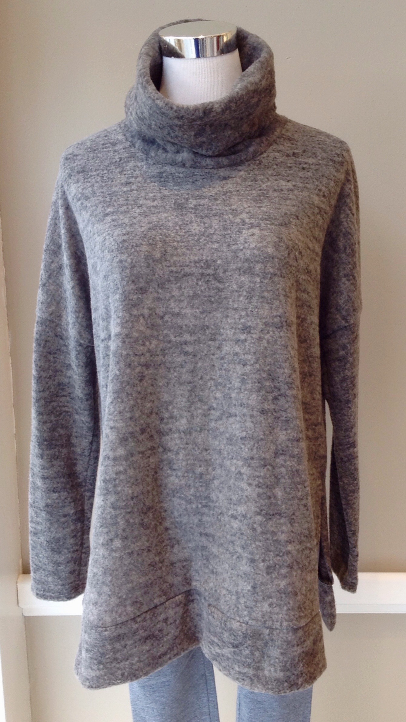 Fleecy knit sweater with cowl neck and side slits in mocha, $38