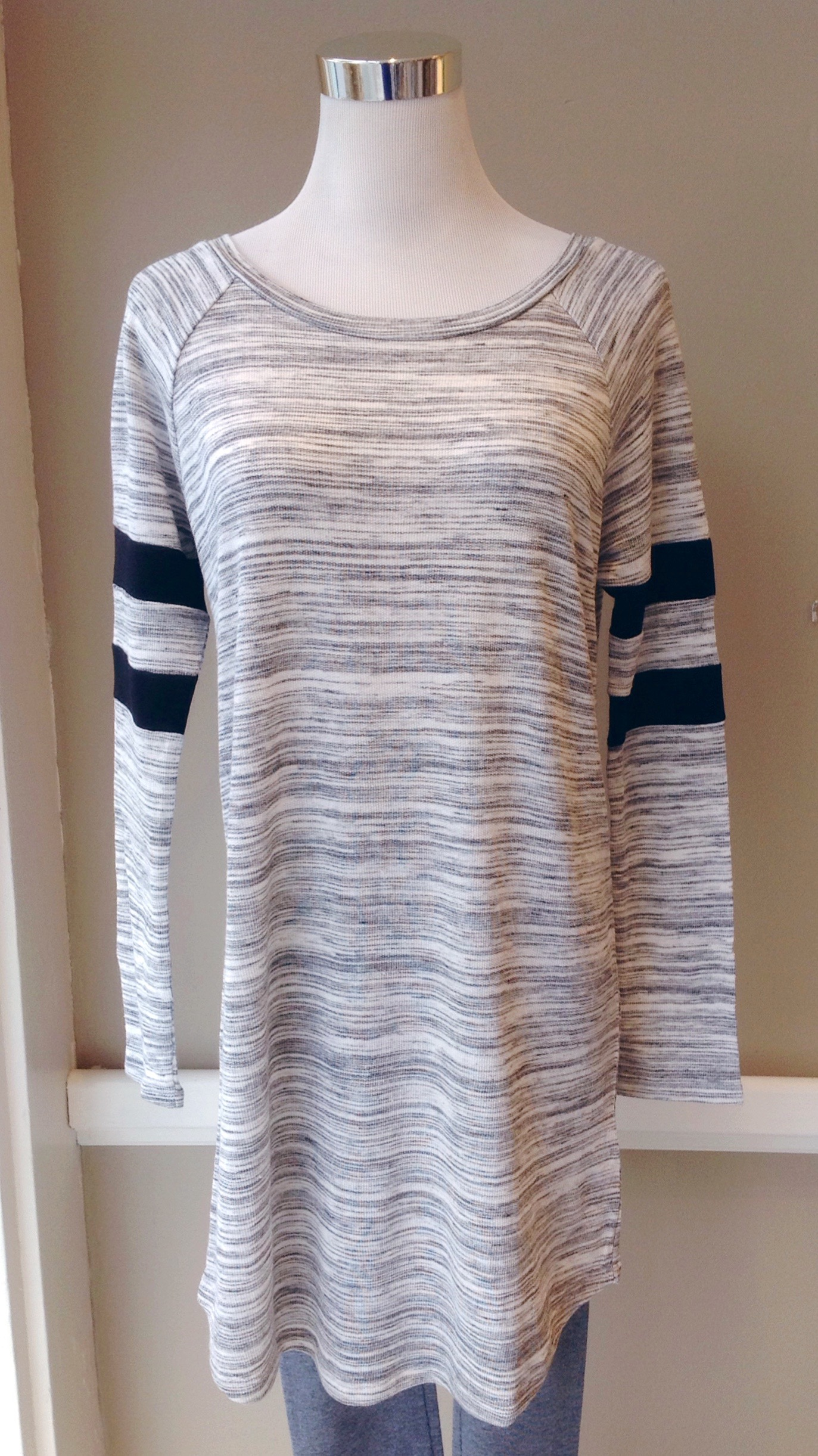 Lightweight knit tunic top with stripe sleeves, $35