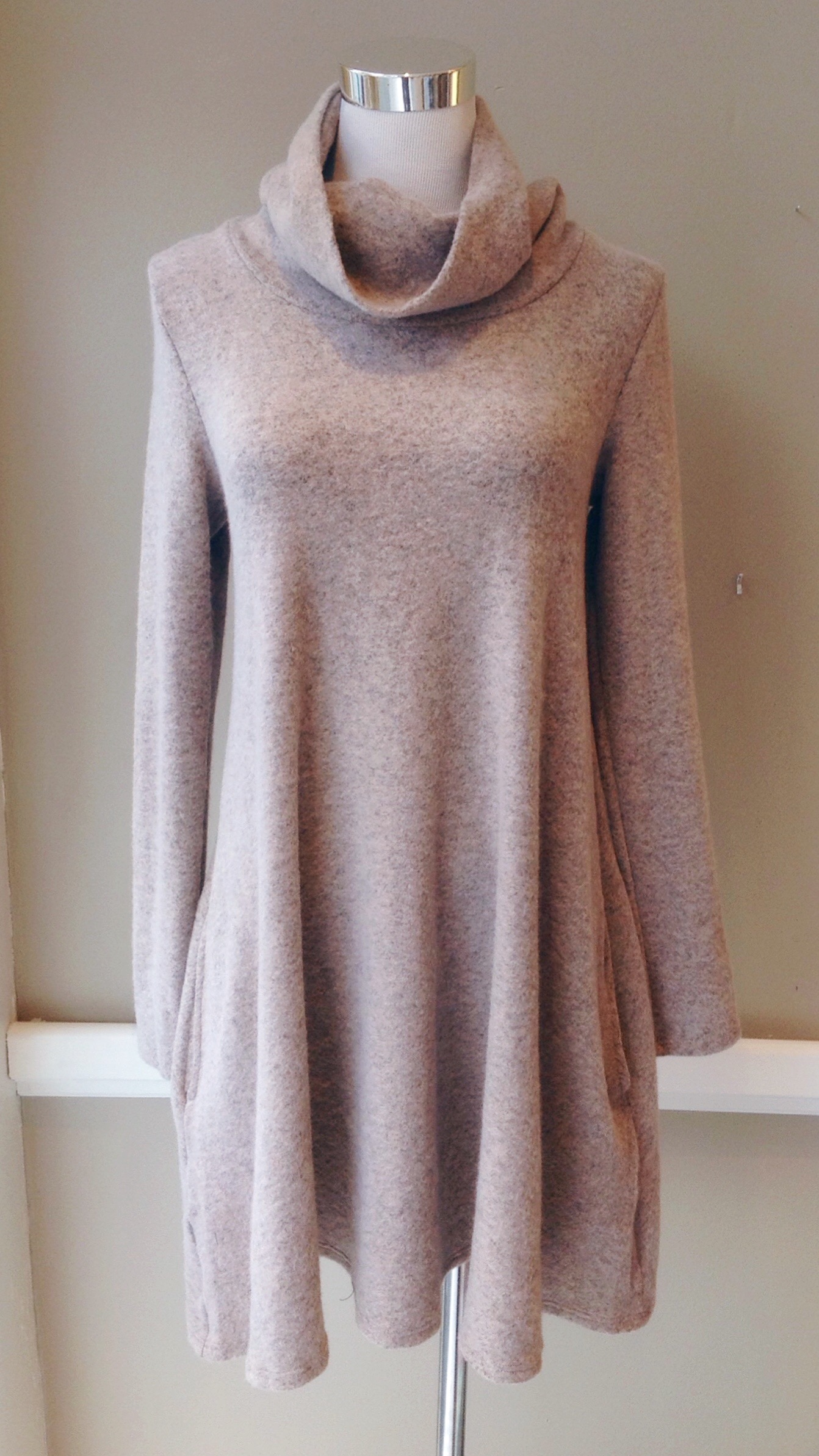 Fleecy knit A-line dress with cowl neck and side seam pockets in taupe, $45