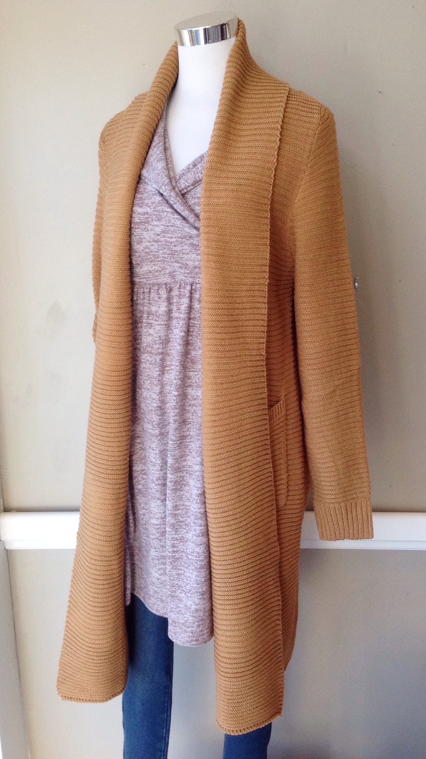 Rib knit open front cardigan with patch pockets in mustard, $58