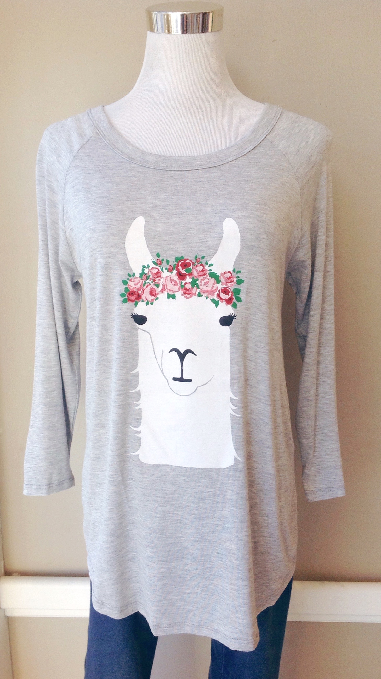 Llama top with raglan sleeves and rounded hem, $34