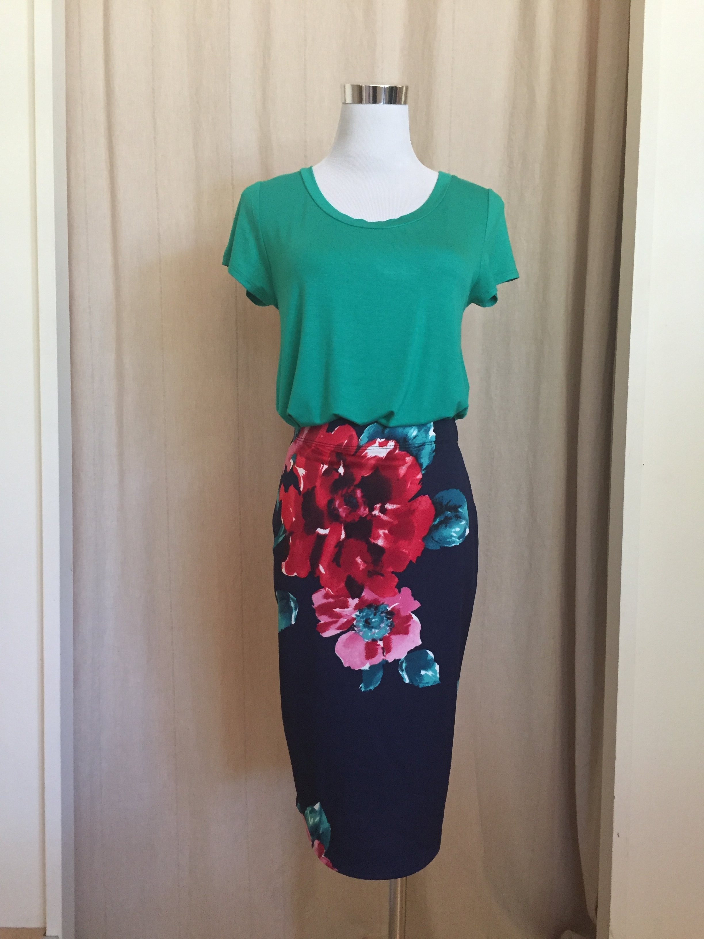 Basic Tee, $24  Pop of Floral Knit Pencil Skirt, $28