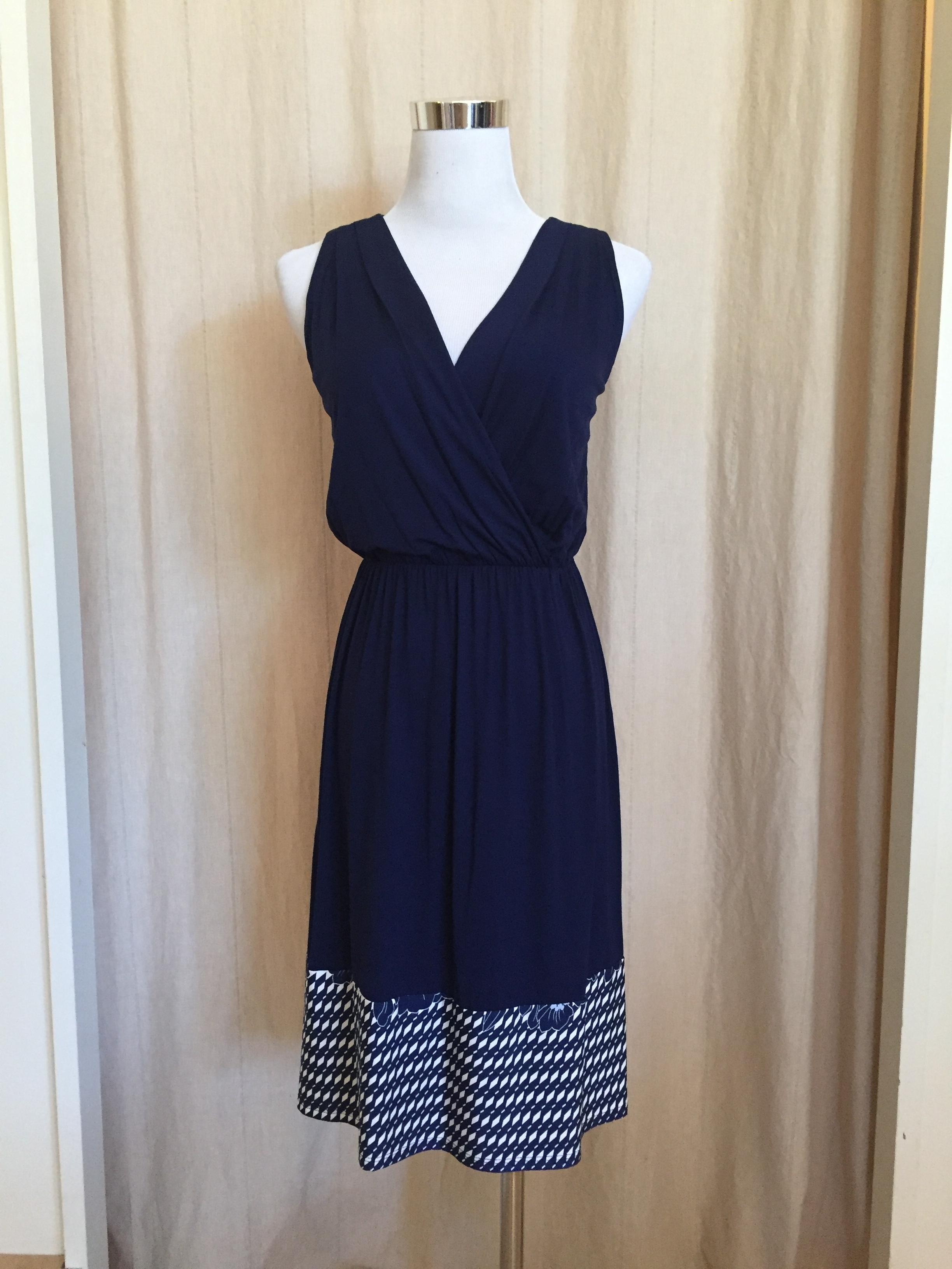 Class Navy Printed Hem Dress, $42