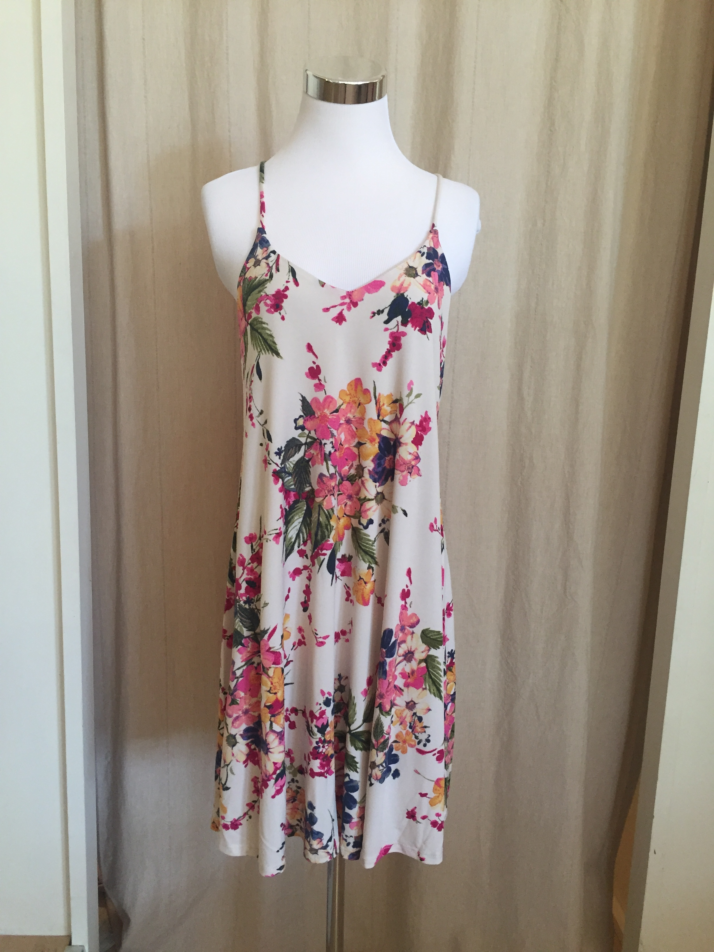 Cream Floral Strappy Dress, $38
